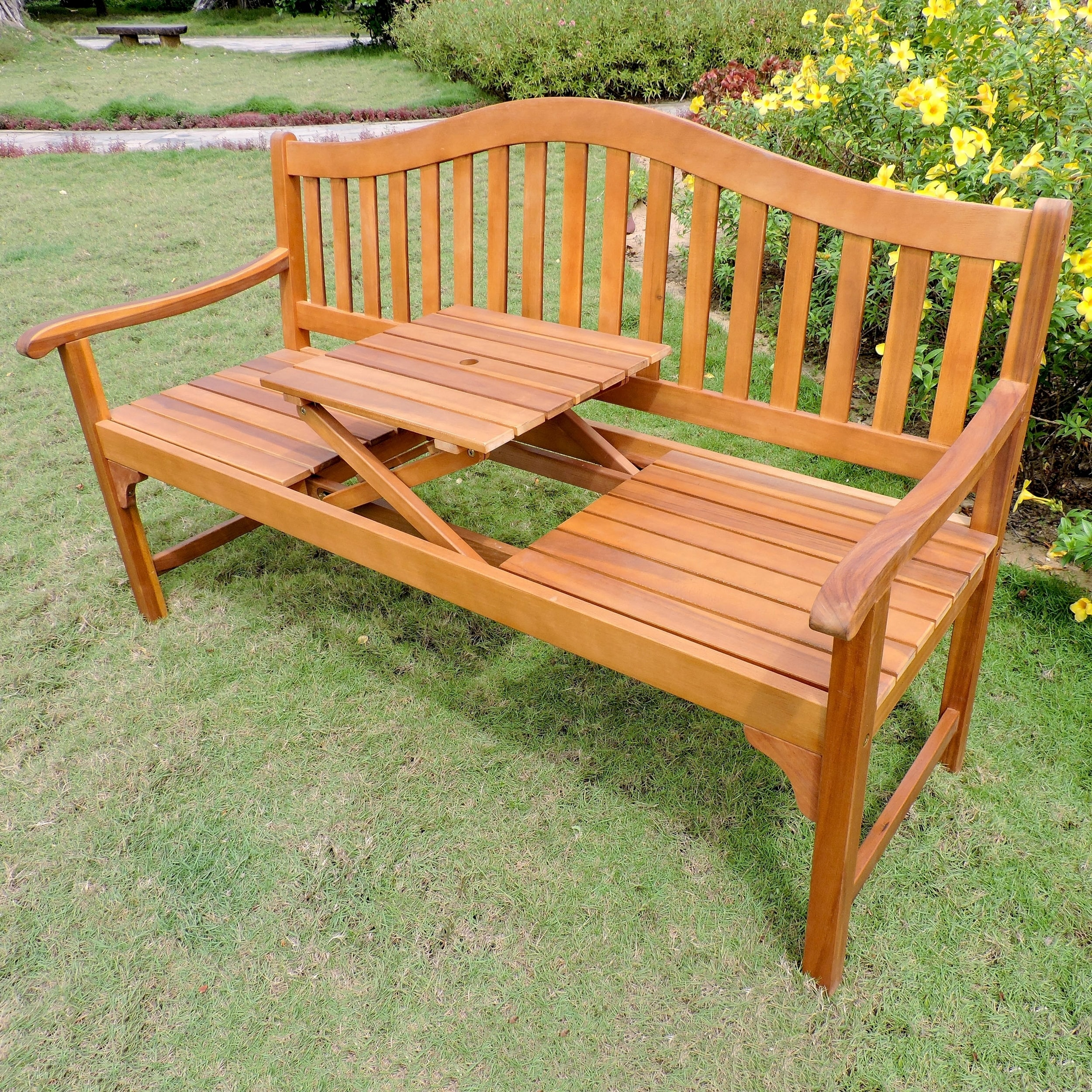 Awesome International Caravan Royal Fiji 5 Foot Garden Bench With Table   Free  Shipping Today   Overstock   26485830