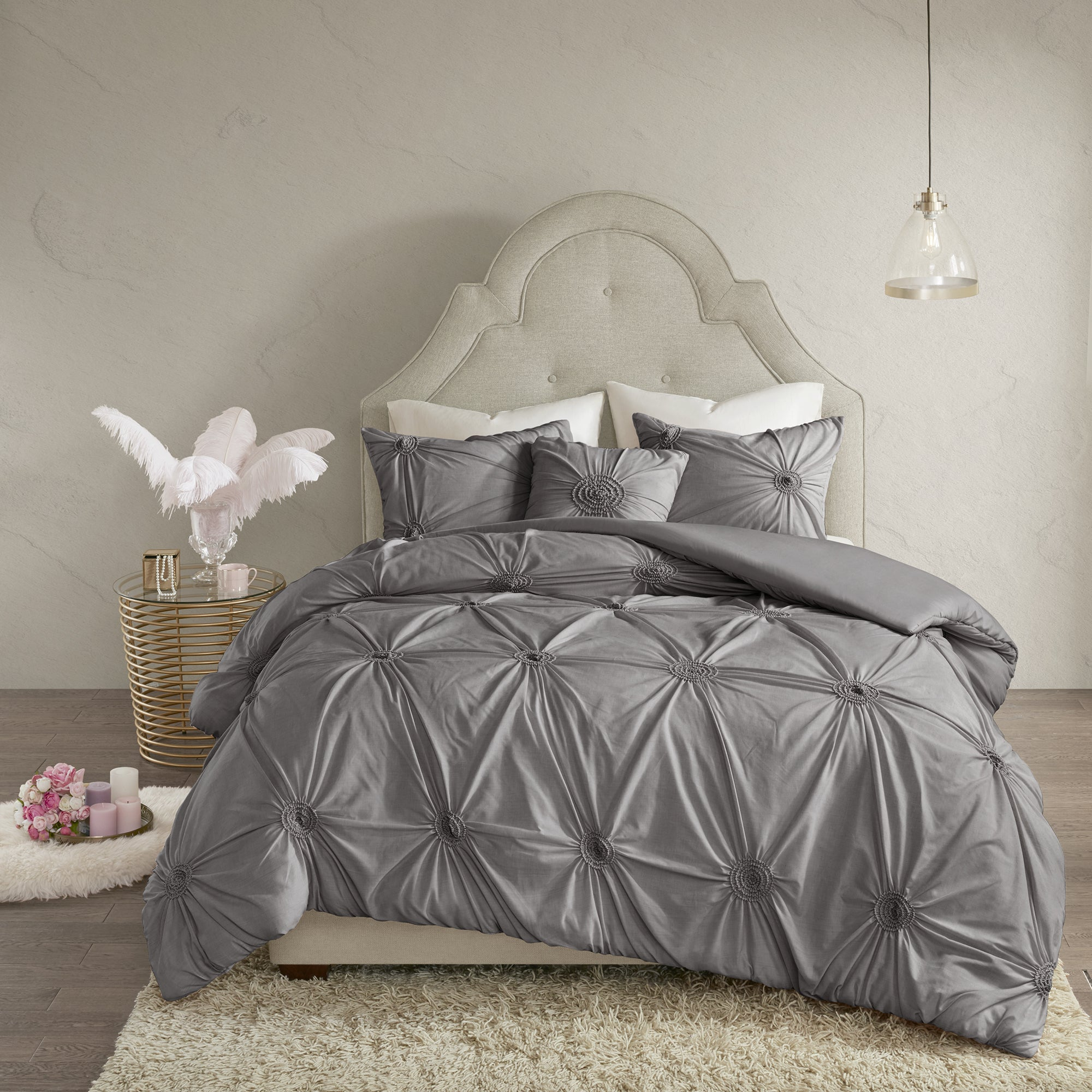 cover home coverlet product quilted damaskquilt gray ienjoy duvet dark damask set darkgray