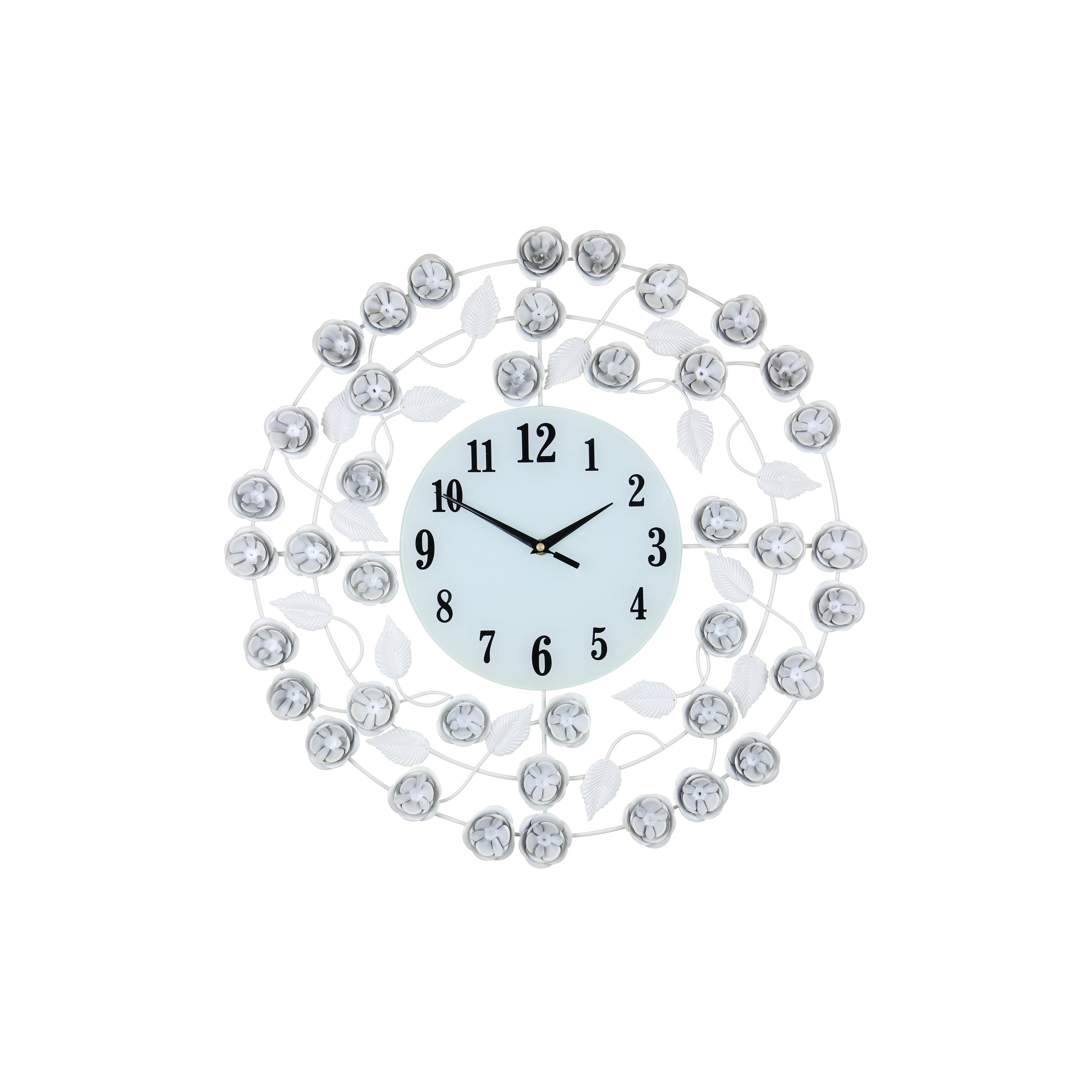 Elegant Circular Wall Clock With White Flowers And Leaves 21 Shabby Chic Home Or Office Décor Free Shipping Today 20654913