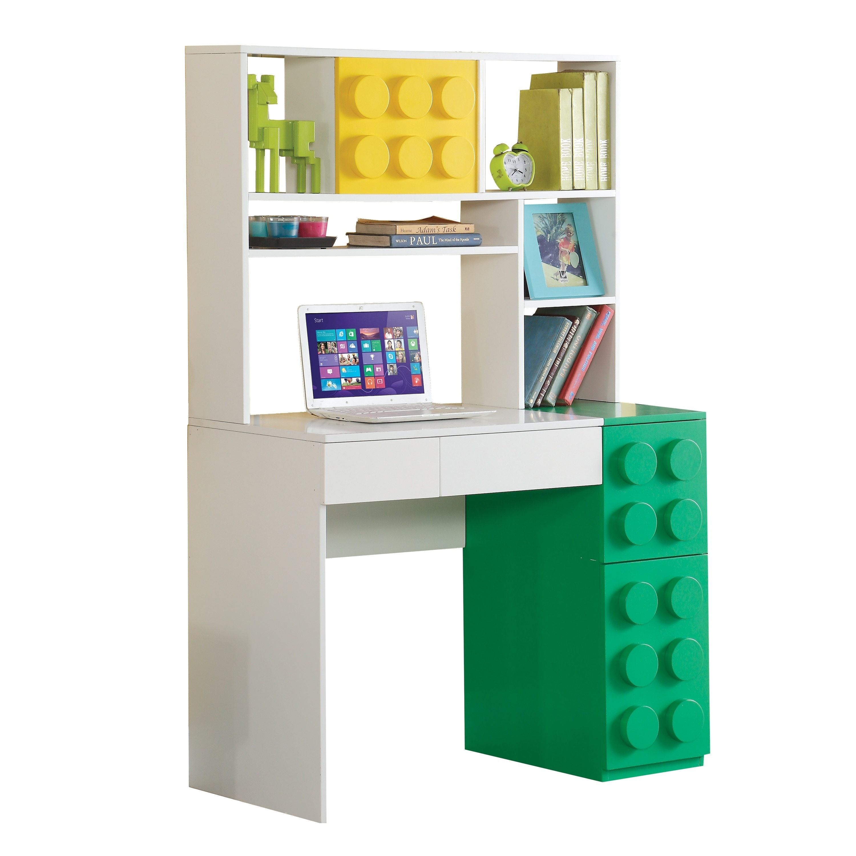 Acme Playground Computer Desk With Hutch In White Green And Yellow Free Shipping Today 20656857