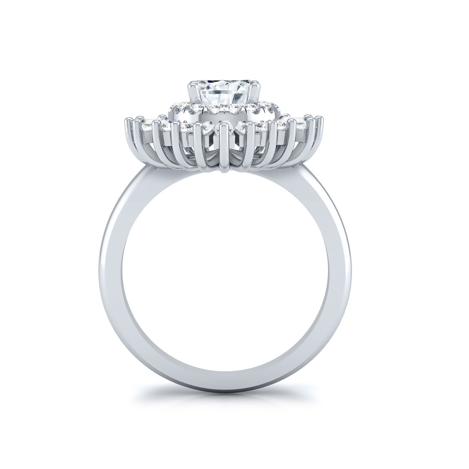 14k Gold Vintage 1 2ct Tdw Certified Round And Baguette Ballerina Diamond Halo Engagement Ring By Auriya On Free Shipping Today