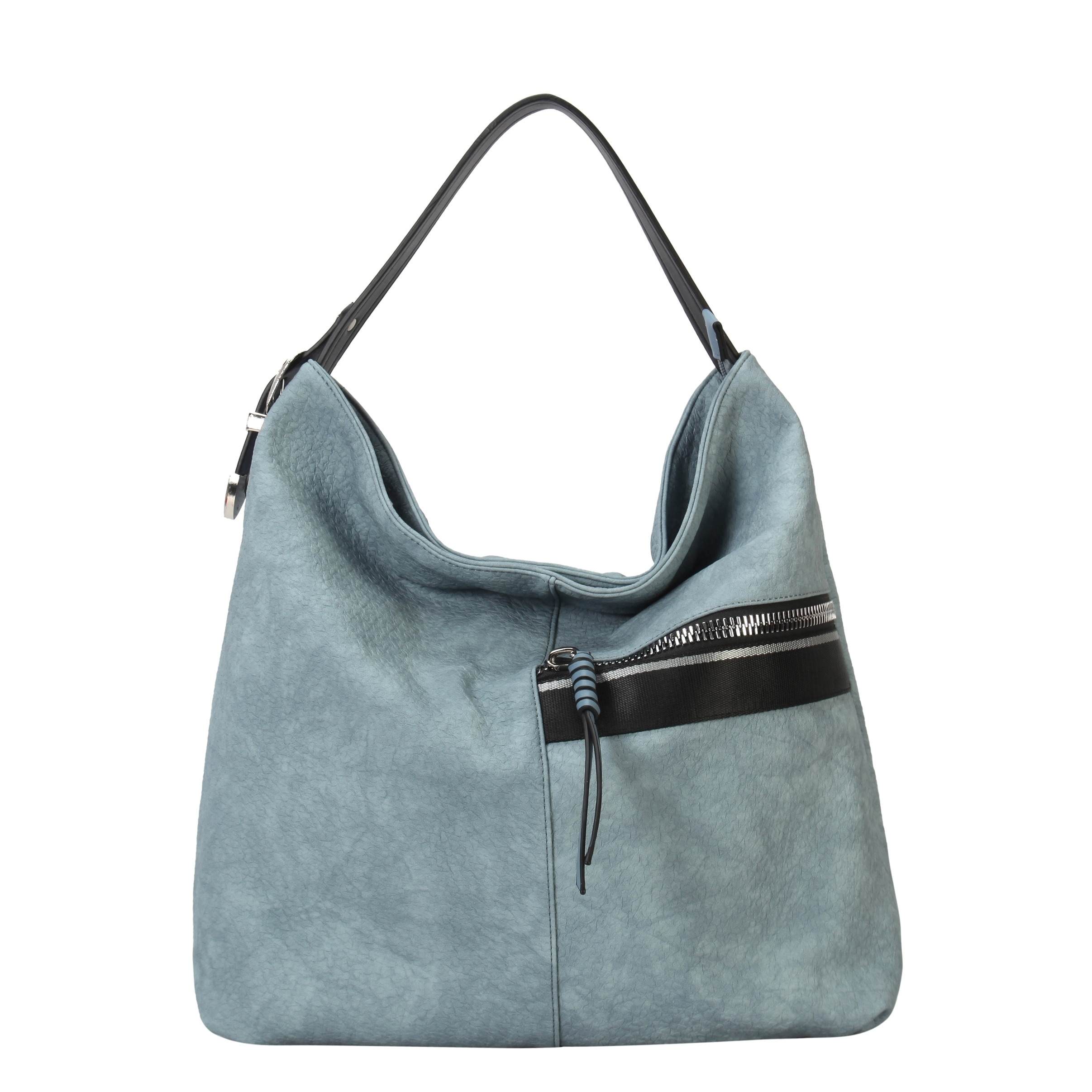 60182c5db1602 Diophy Front Half Zipper Pocket Fashion Hobo Bag - L