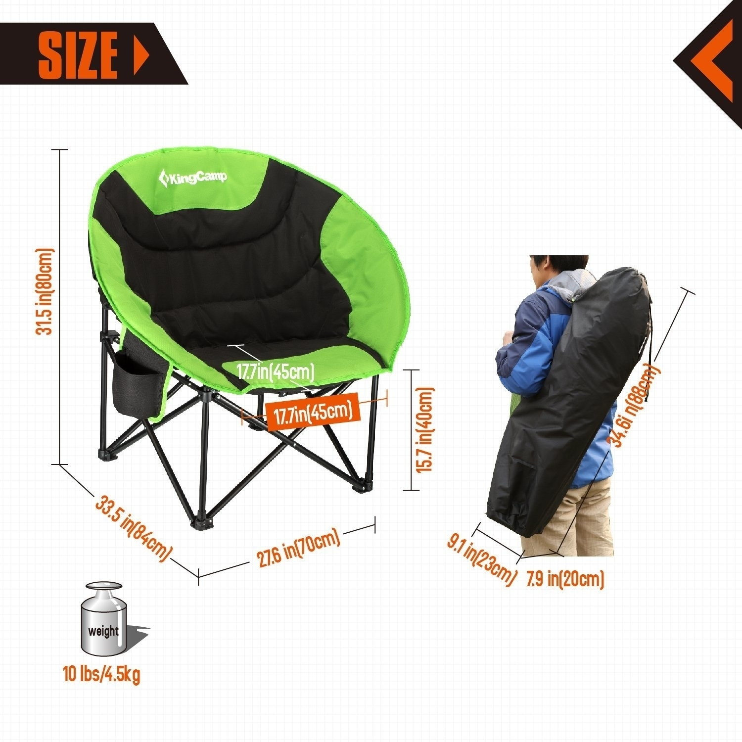 Shop KingCamp Moon Saucer Camping Chair   Carry Bag   Free Shipping Today    Overstock.com   20657762