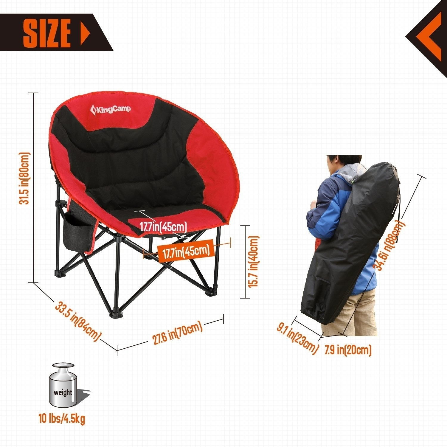 Shop KingCamp Moon Saucer Camping Chair With Cup Holder   Free Shipping  Today   Overstock.com   20657763