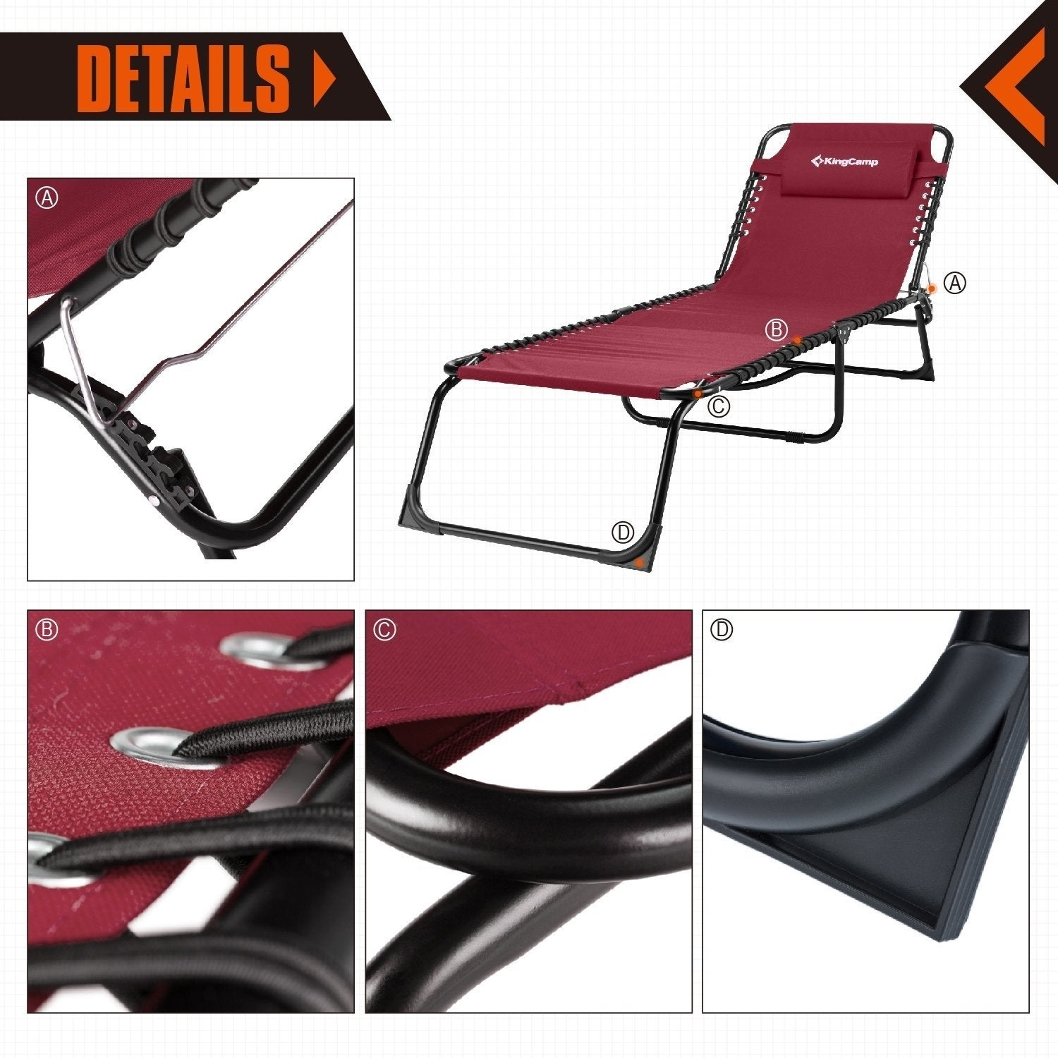 57f28eac0a8c Shop Patio Lounge Chair 3 Reclining Positions Steel Frame 600D Oxford  Folding Camping Cot Chaise Bed - Free Shipping Today - Overstock - 20657834