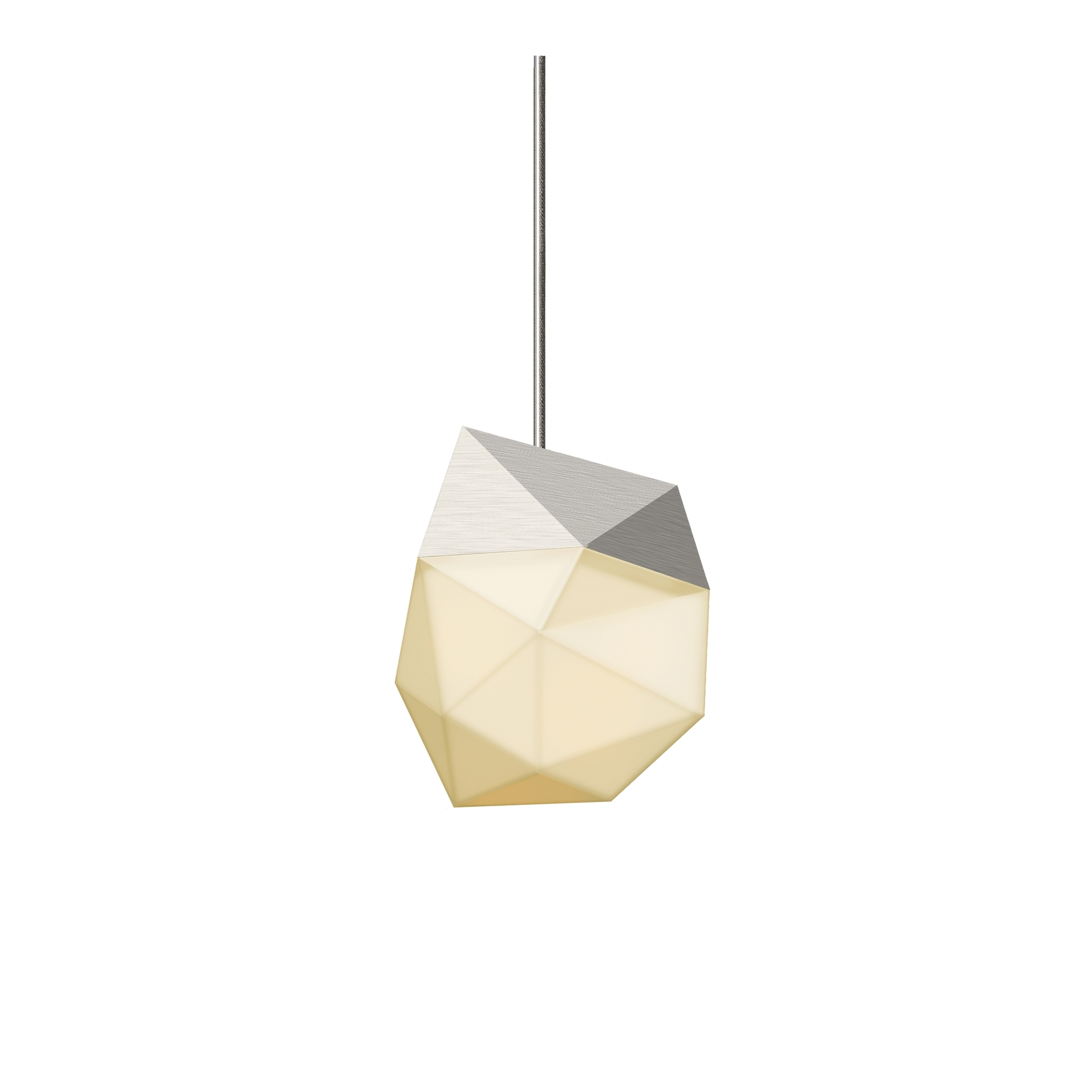 Sonneman Lighting Facets 1 Light Satin Nickel Small Led Pendant, White