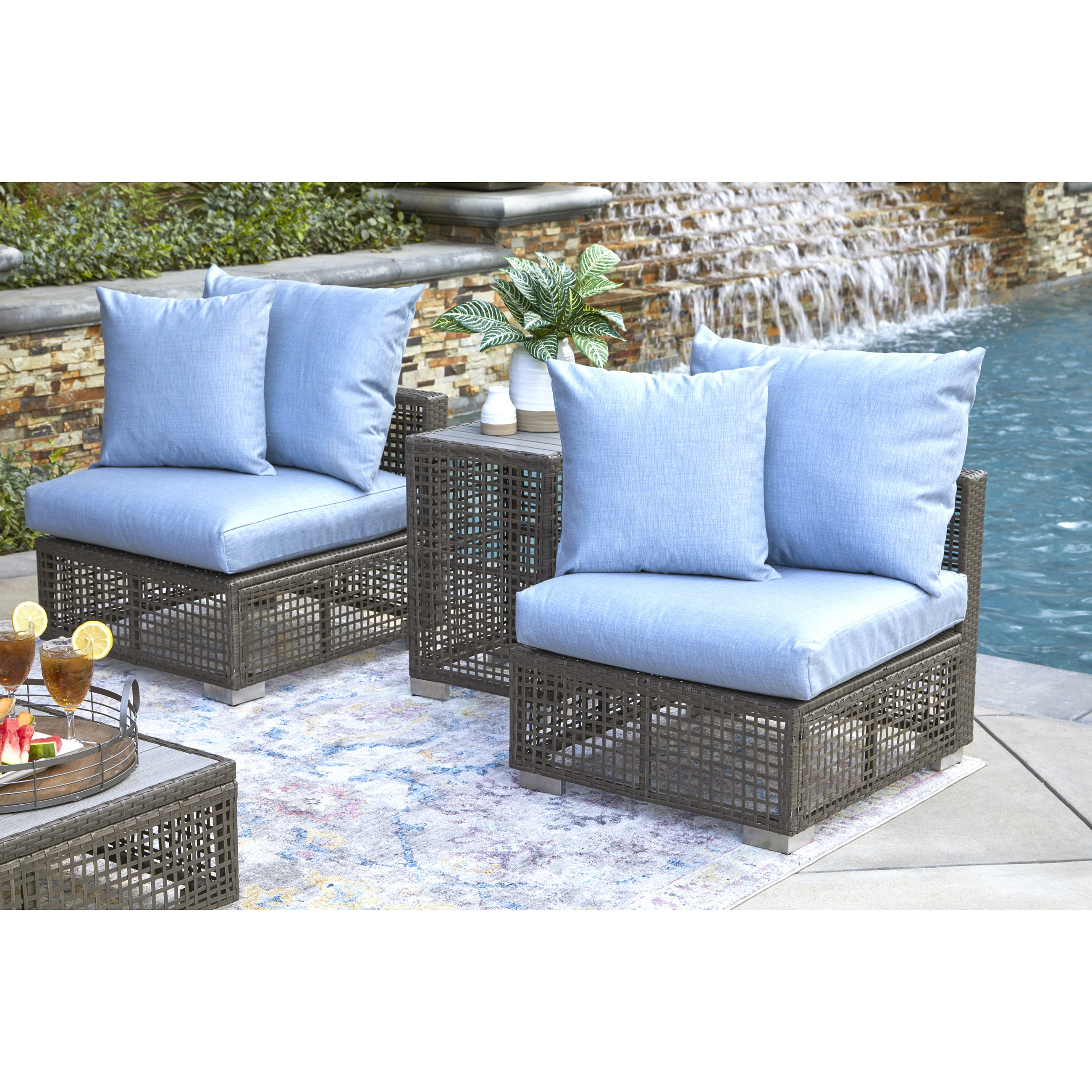 Handy living aldrich outdoor gray open weave rattan armless chair with sunbelievable sky blue cushions