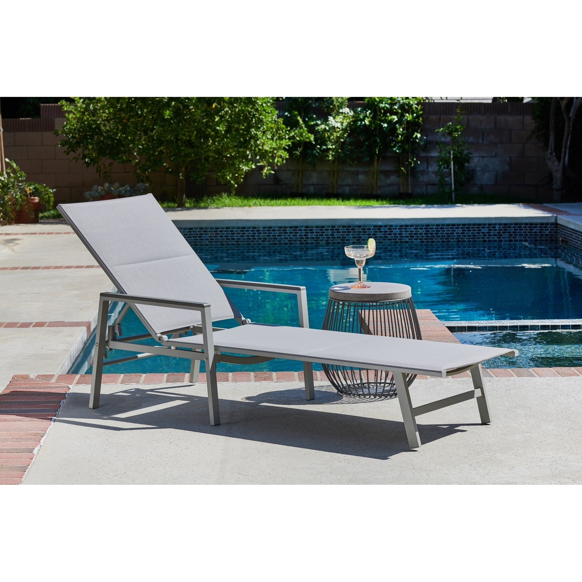 Shop Positano Grey Sling Patio Chaise Lounge   Free Shipping Today    Overstock.com   20663798
