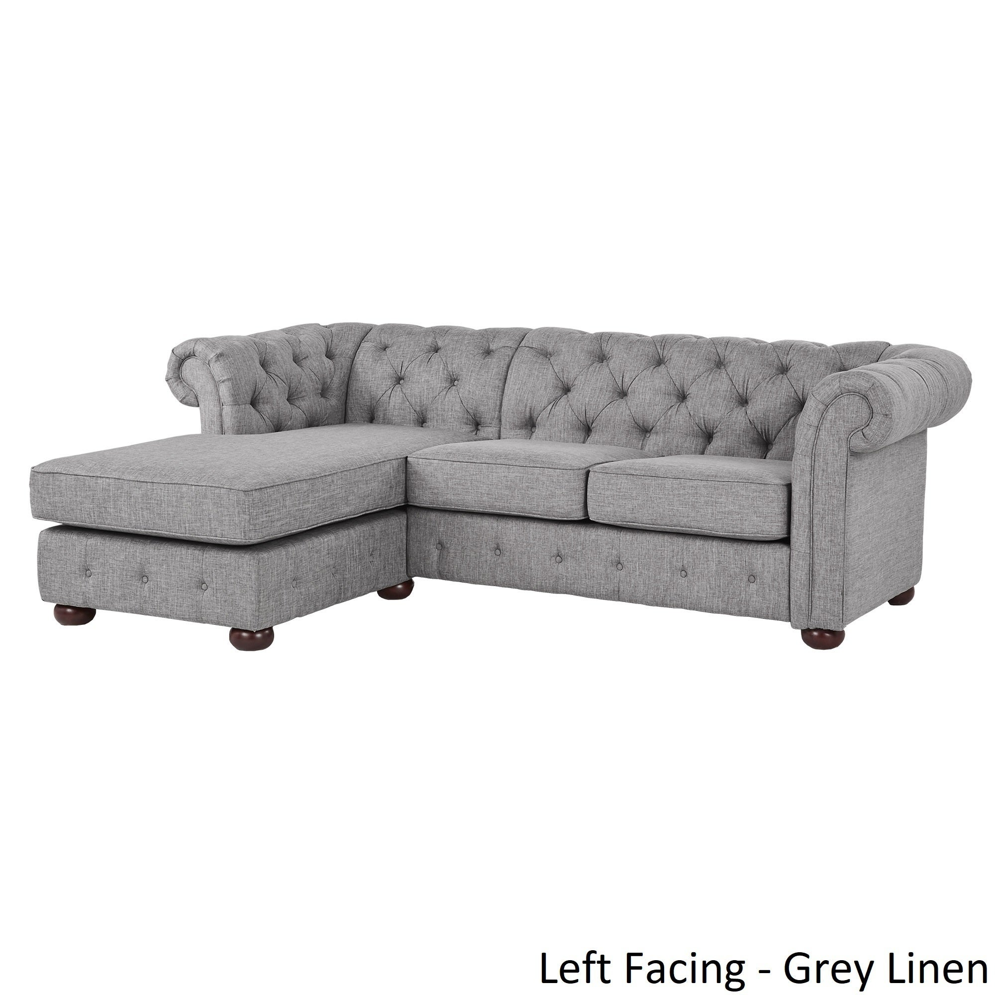 Shop Knightsbridge Tufted Scroll Arm Chesterfield 3 Seat Sofa And Chaise By  INSPIRE Q Artisan   On Sale   Free Shipping Today   Overstock.com   20666781