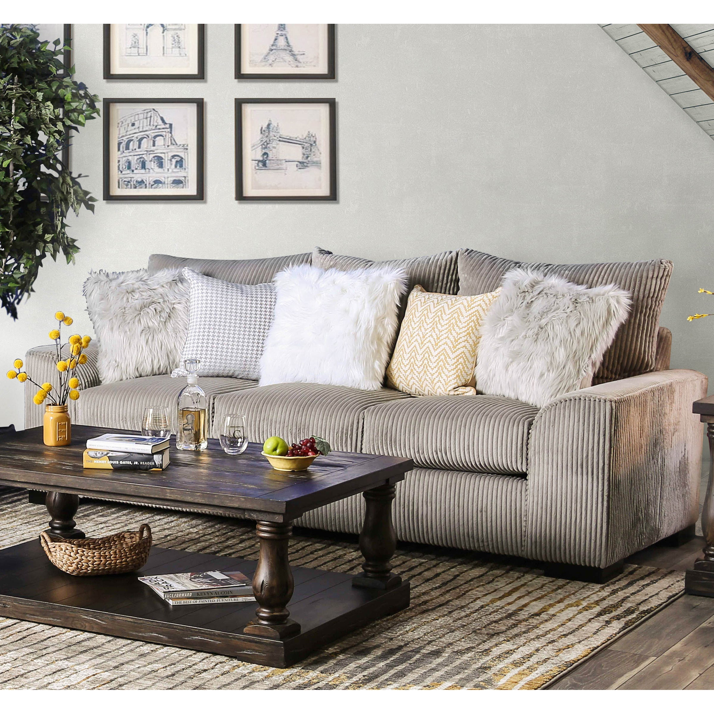 Furniture of America Bedford Contemporary Corduroy Sofa - Free ...