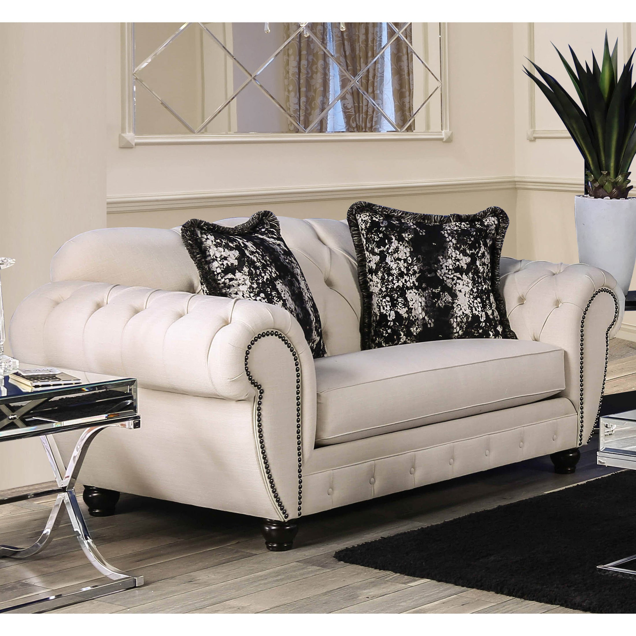loveseat tufted and plum products new velvet arms pin arm melaina scroll
