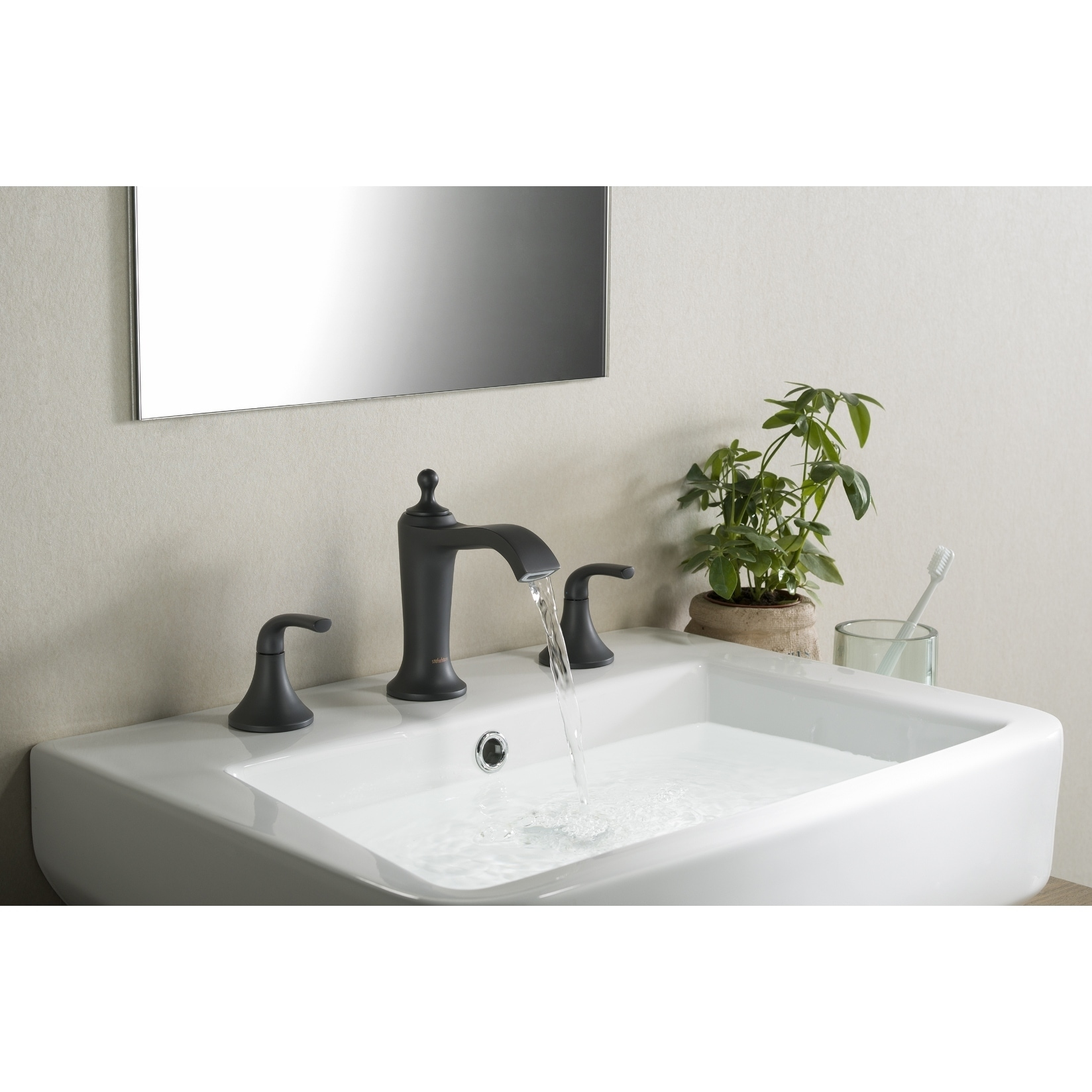 Stufurhome Brantley Chrome Bathroom Faucet Set in Matte Black - Free ...