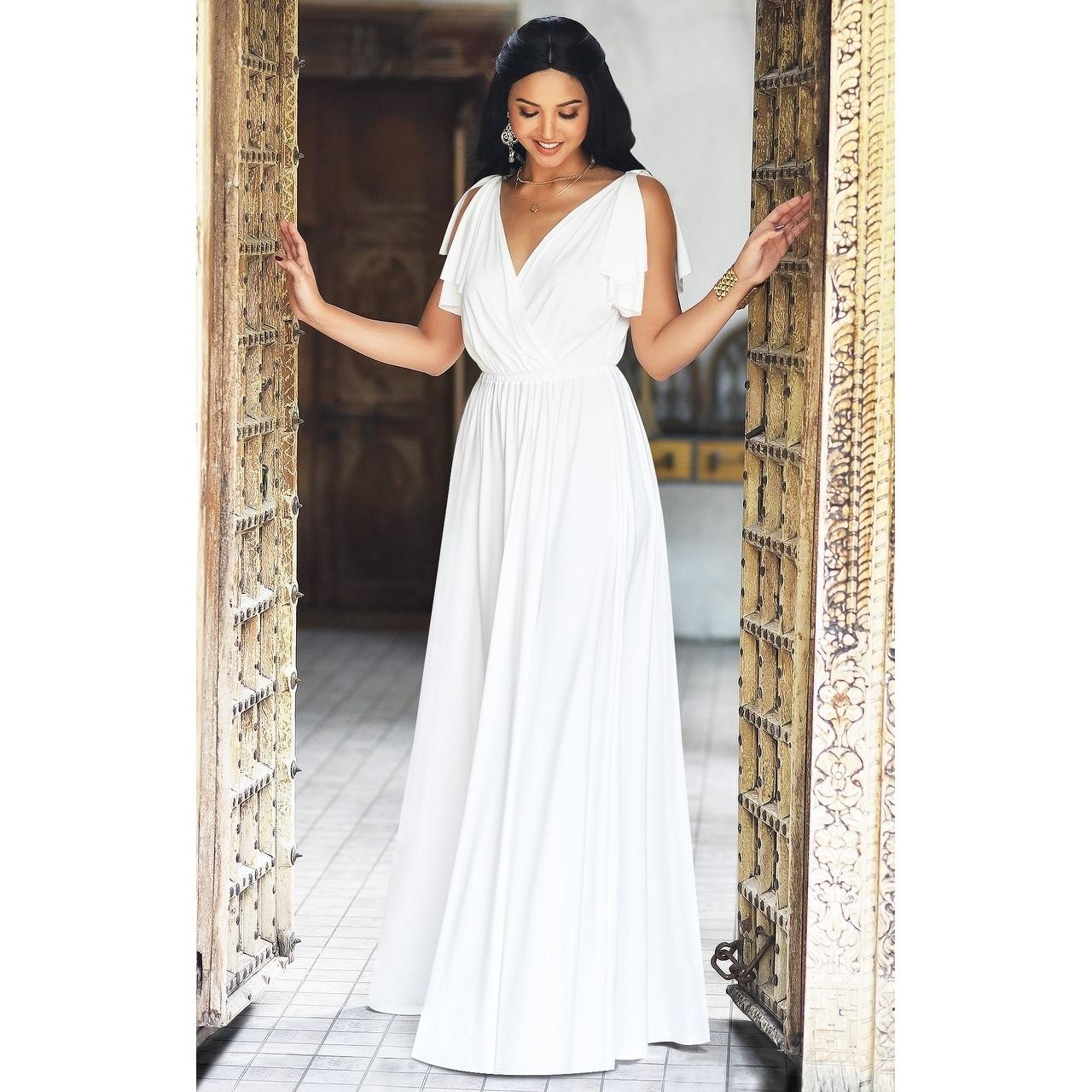 Shop KOH KOH Womens Elegant Long Cap Sleeve Gowns Flowy Party Maxi ...