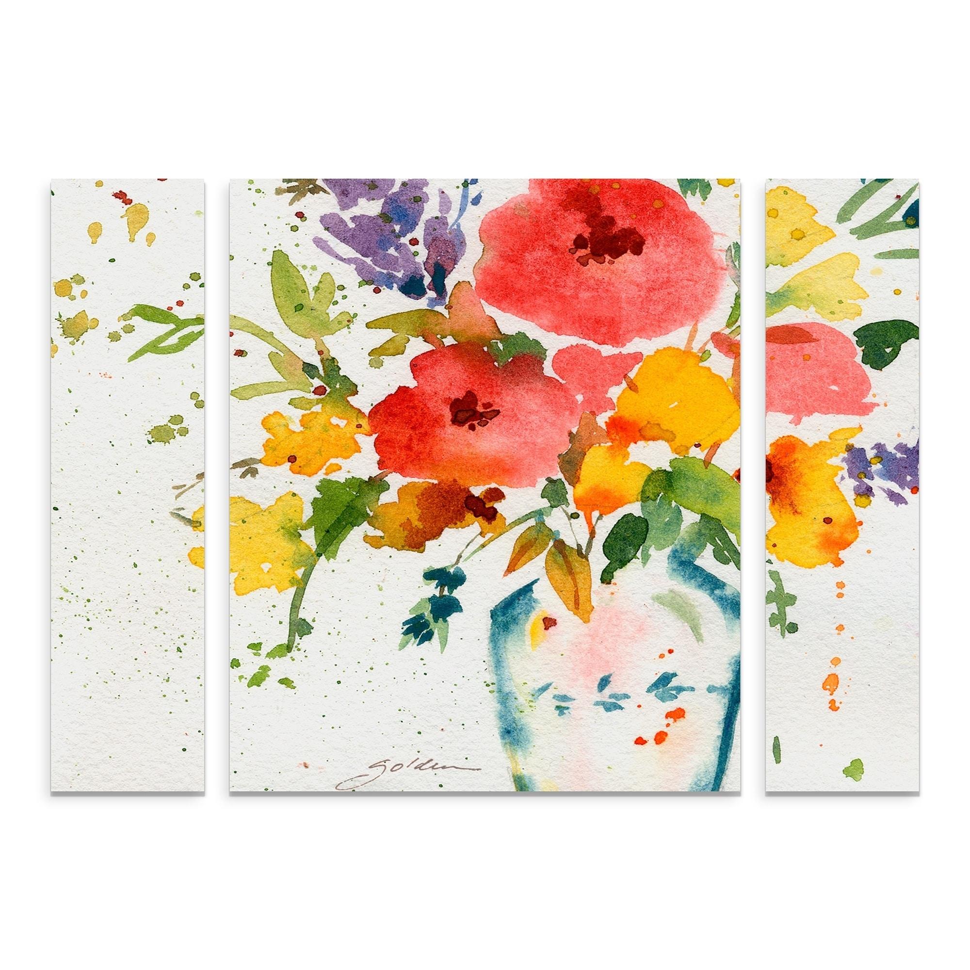 Shop Sheila Golden White Vase With Flowers Multi Panel Art Set