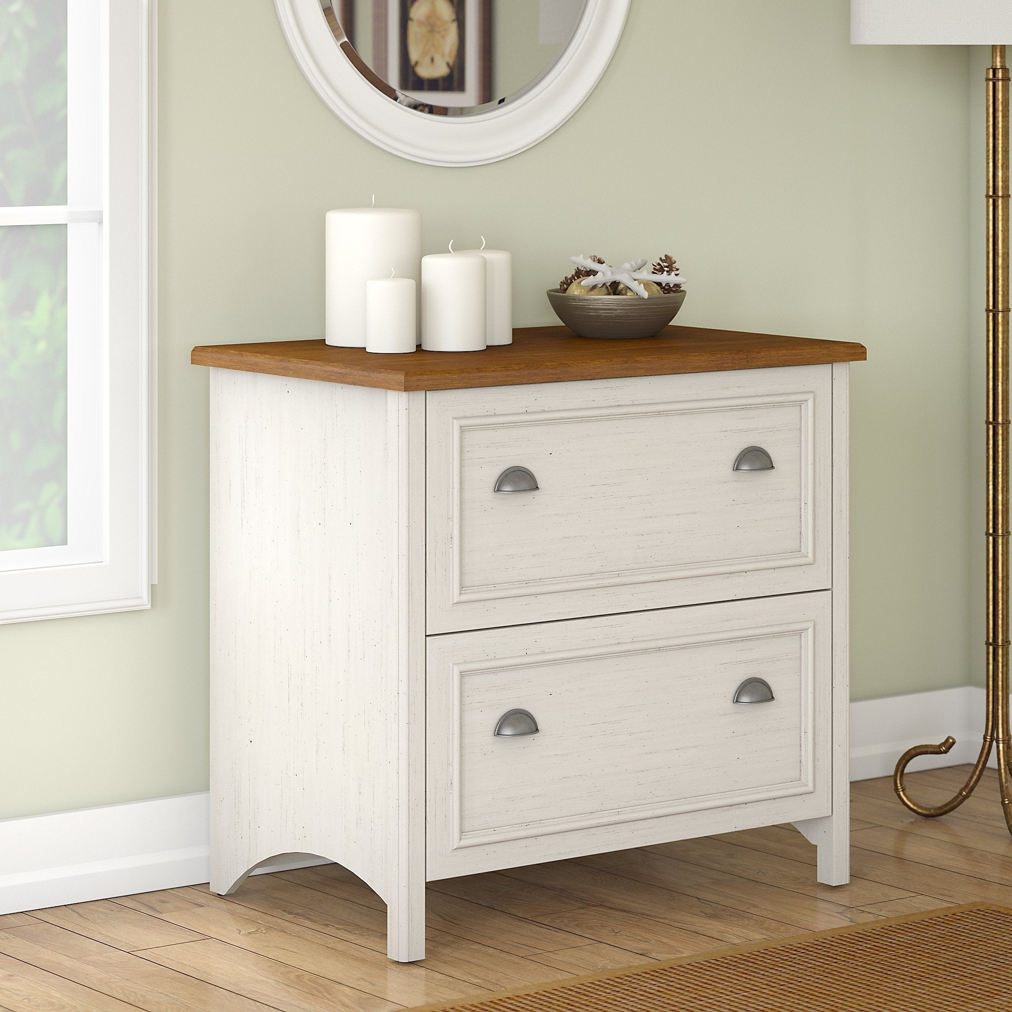 Shop Stanford 2 Drawer Lateral File Cabinet In Antique White And Tea Maple    Free Shipping Today   Overstock.com   20676415