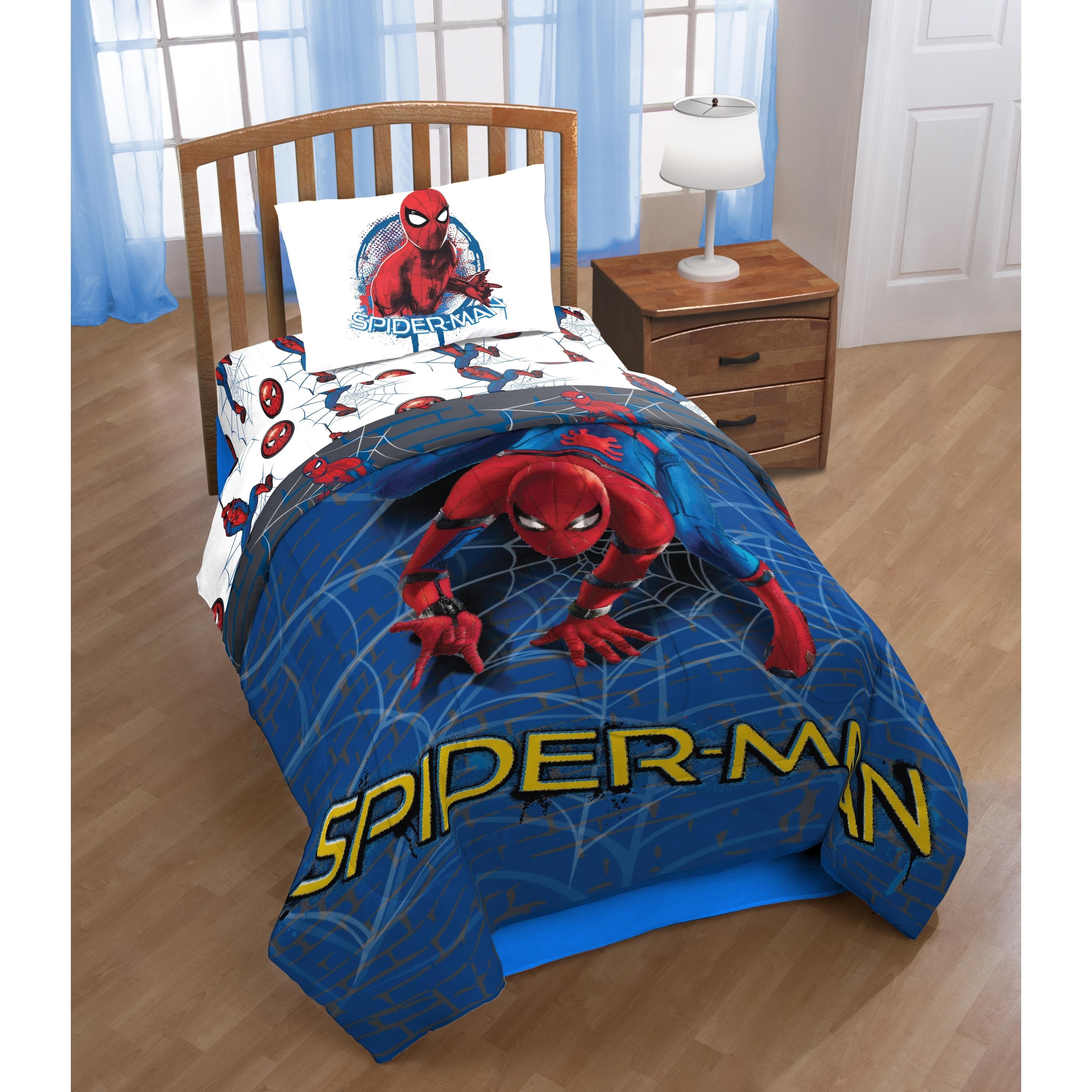 Shop Marvel Spiderman Wall Crawler Reversible Twin Comforter - Free ...
