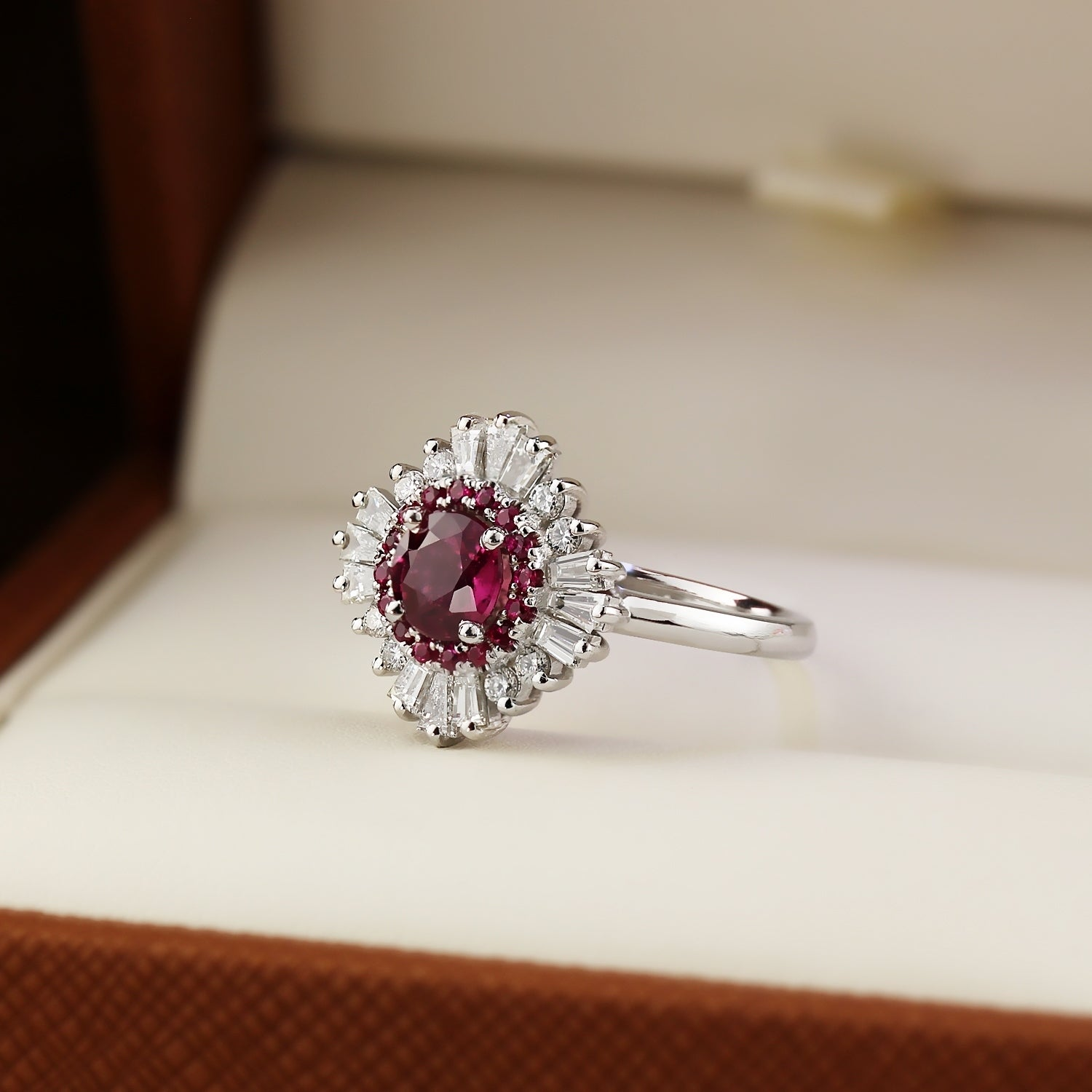 5994abe96 Auriya 1 1/6ct Red Ruby and 5/8ctw Ballerina Halo Baguette Diamond  Engagement Ring 14k Gold