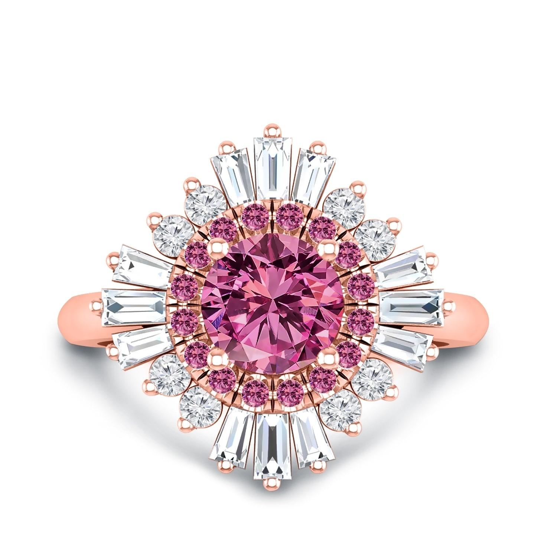 Shop Auriya 14k Gold Vintage Ballerina 1 3/8ct Pink Sapphire and 5 ...