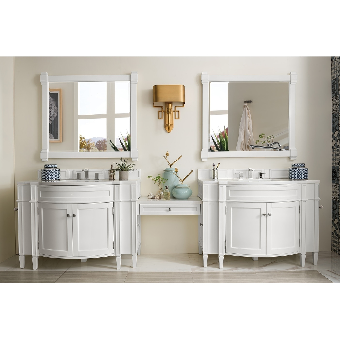 Brittany 118 Double Vanity Set, Cottage White With Makeup Table,
