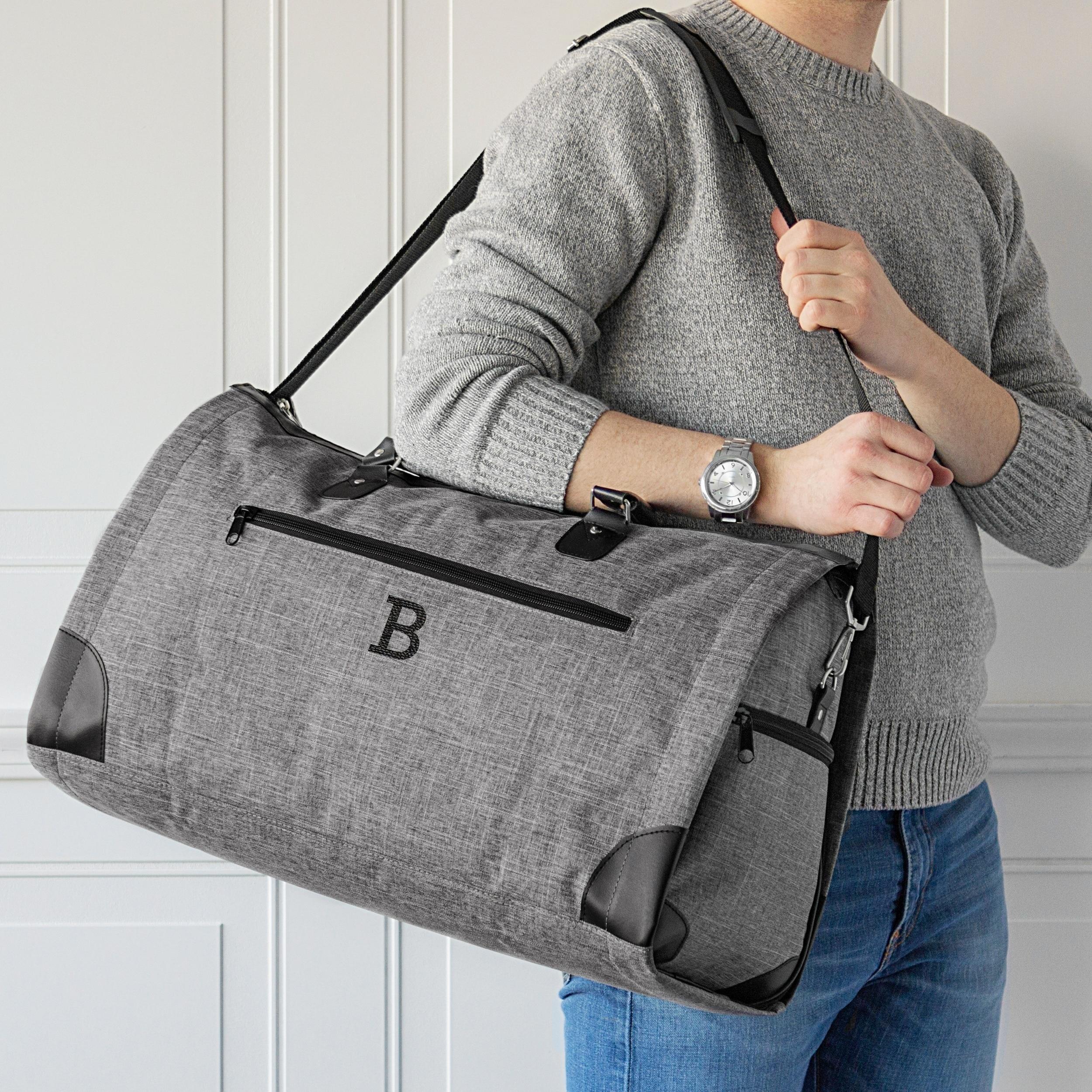 Shop Personalized Grey Convertible Garment Bag Duffel Bag - Free ... 5194f02a356fe