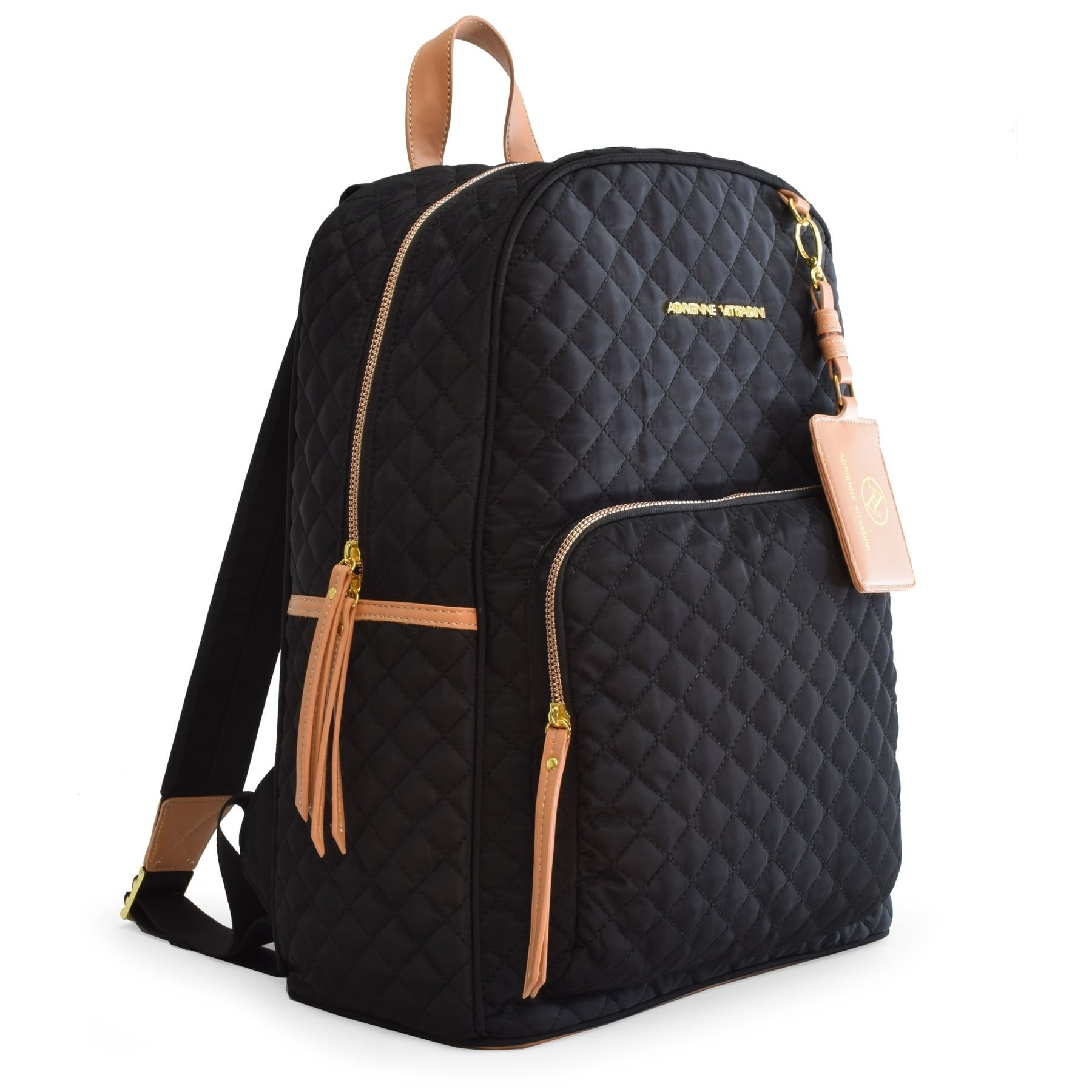 9515a5da7d21 Adrienne Vittadini Quilted Backpack with 13 Inch Padded Laptop Sleeve-Black