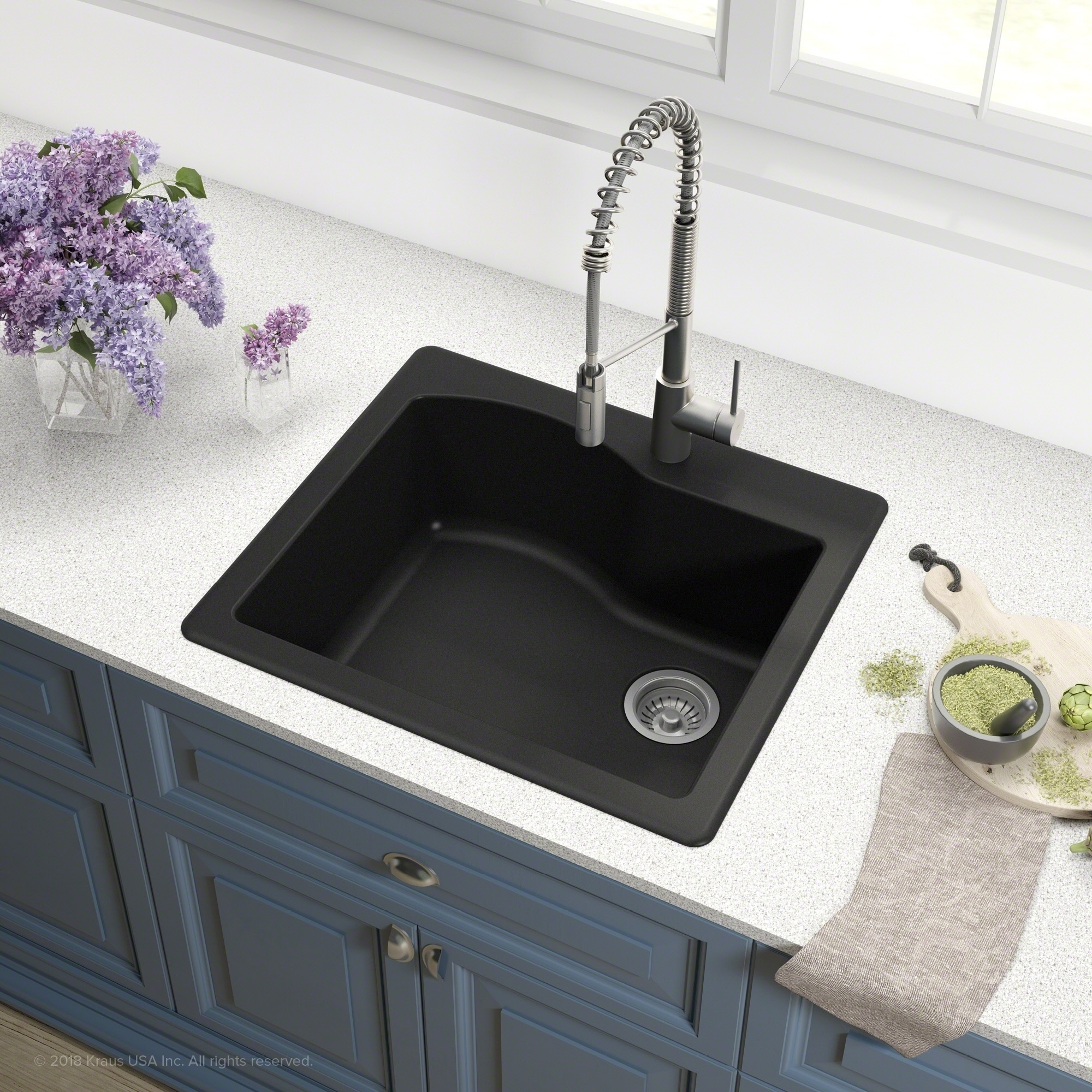 Shop Kraus Kgd 441 Quarza 25 In Undermount Drop In Dual Mount 1 Bowl