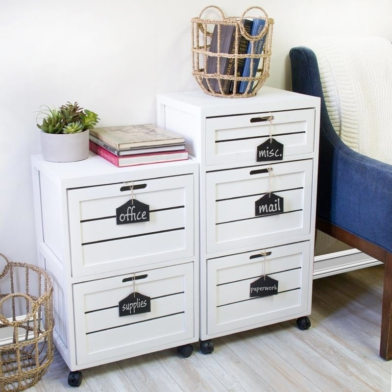 Shop Cory 2 Crated Drawer With Hanging Chalkboard White Filing Cabinet    Free Shipping Today   Overstock.com   20679748