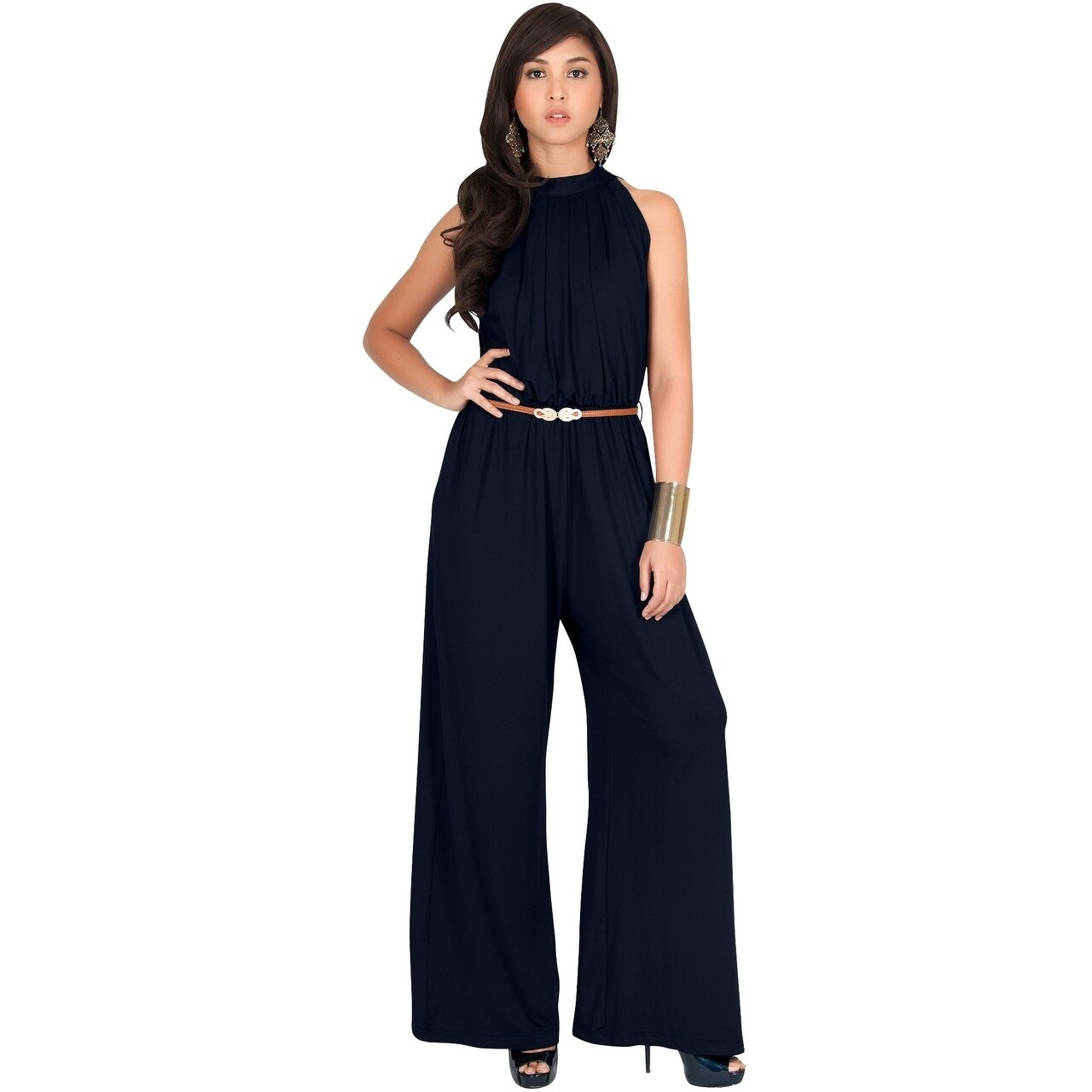 55e5e958e2720 Shop KOH KOH Women Beautiful Sleeveless Halter Neck Casual Work Jumpsuits -  Free Shipping On Orders Over $45 - Overstock - 20680114