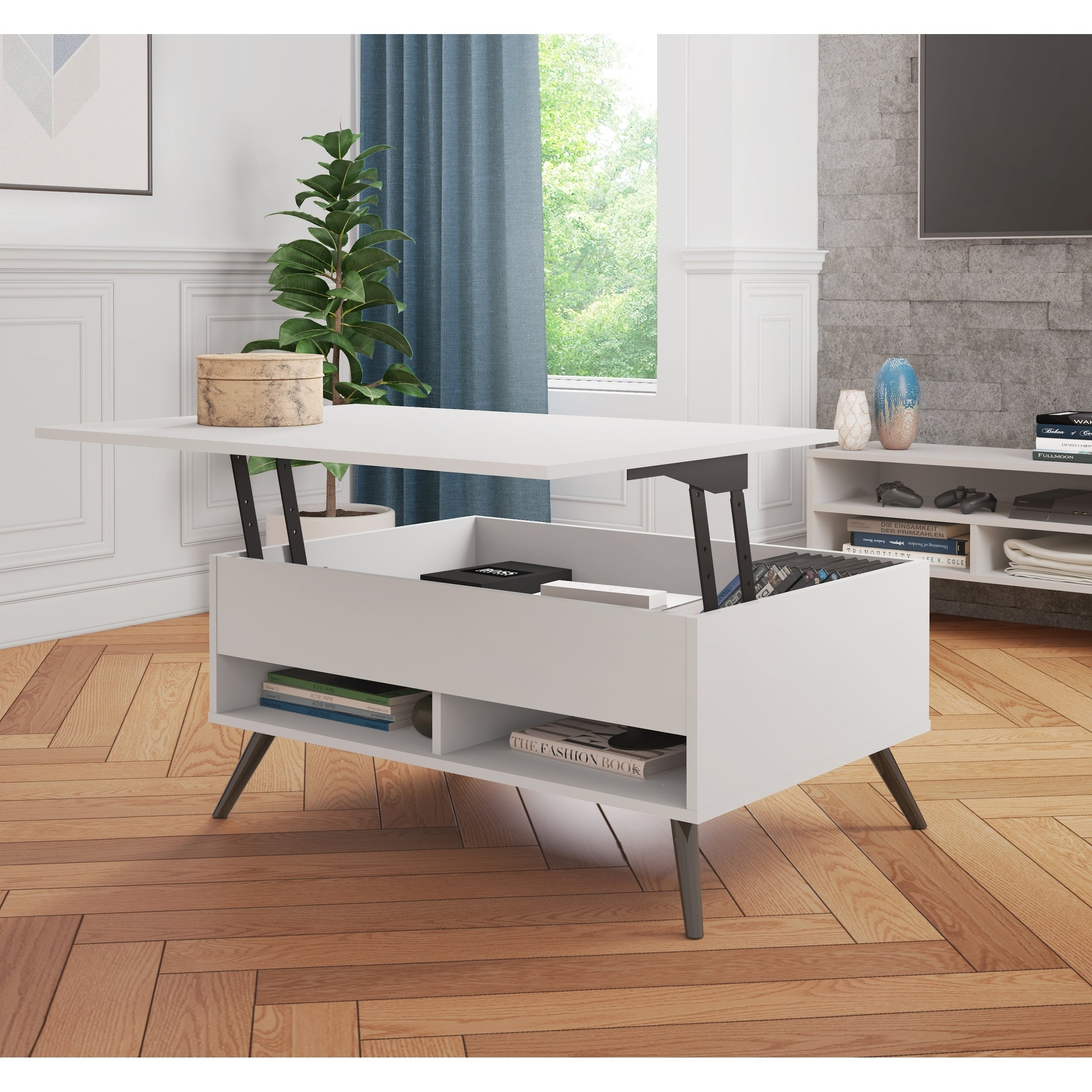 Bestar small space krom 37 inch lift top storage coffee table