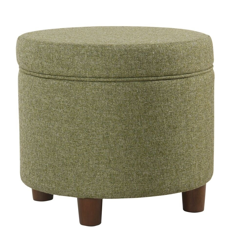 HomePop Round Storage Ottoman   Green Tweed   Free Shipping Today    Overstock.com   26517674