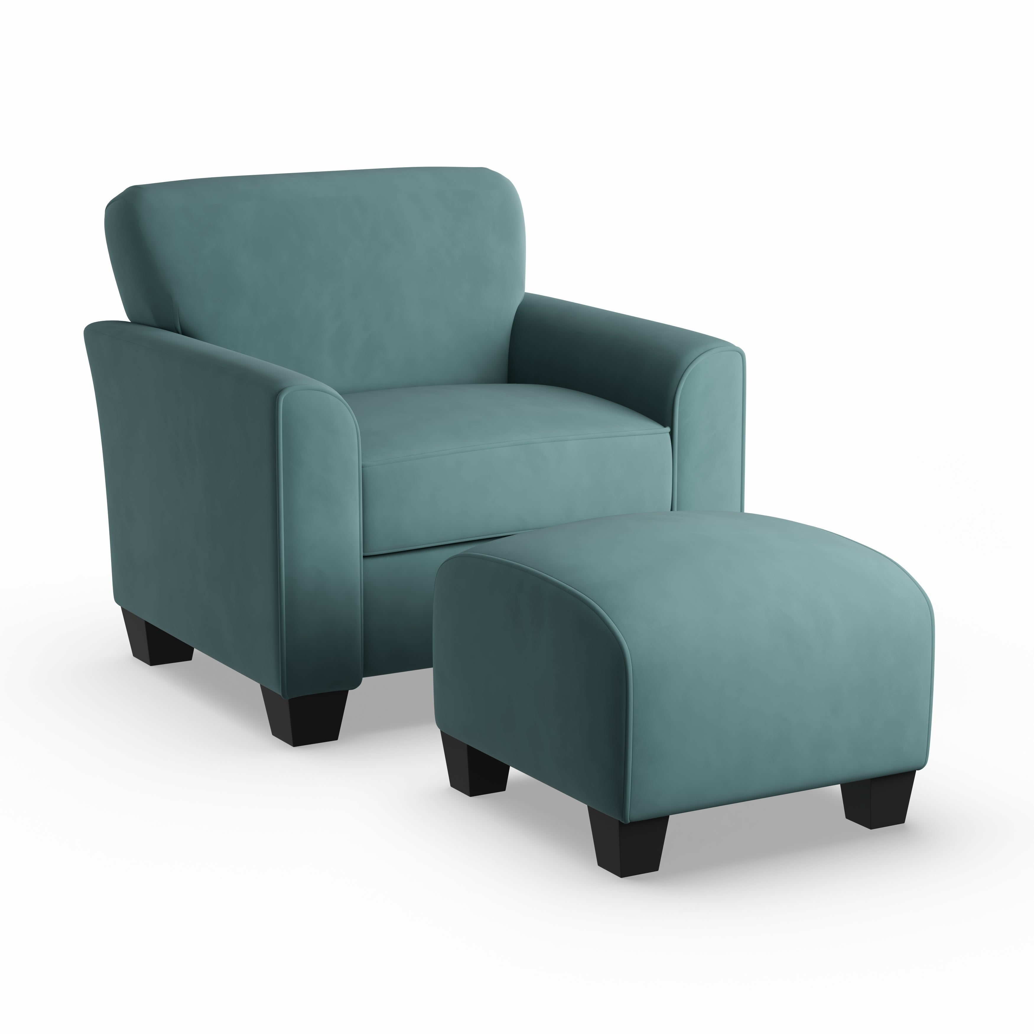 Shop Porch U0026 Den Kalamath Turquoise Velvet Arm Chair And Ottoman   On Sale    Free Shipping Today   Overstock   20689378