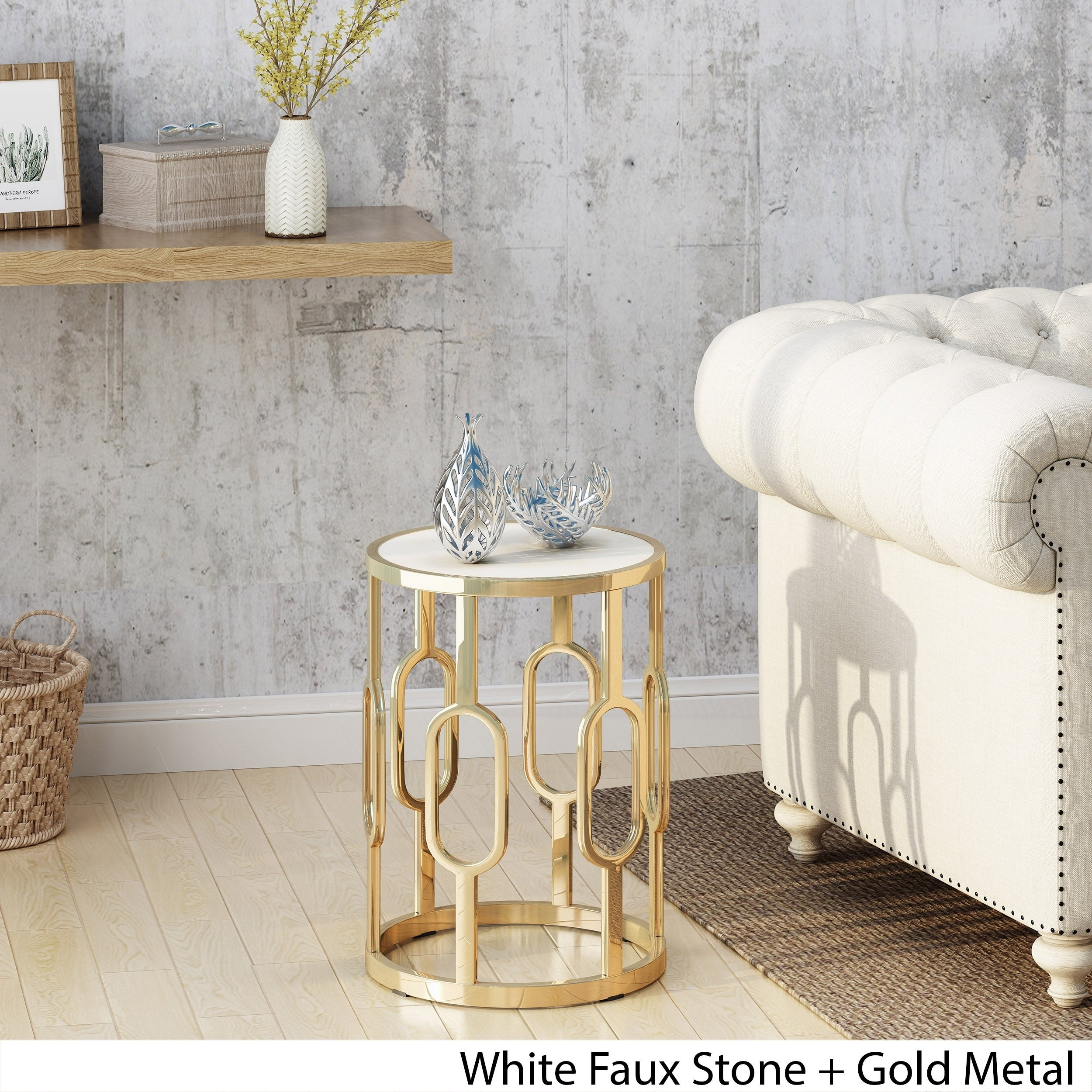 Shop Mahalia 16 Inch Stone Side Table By Christopher Knight Home   On Sale    Free Shipping Today   Overstock.com   20690877