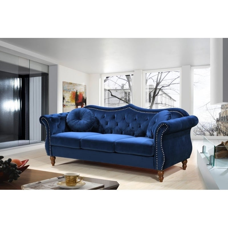 Us Pride Furniture Anna Upholstered Nailhead Chesterfield Sofa