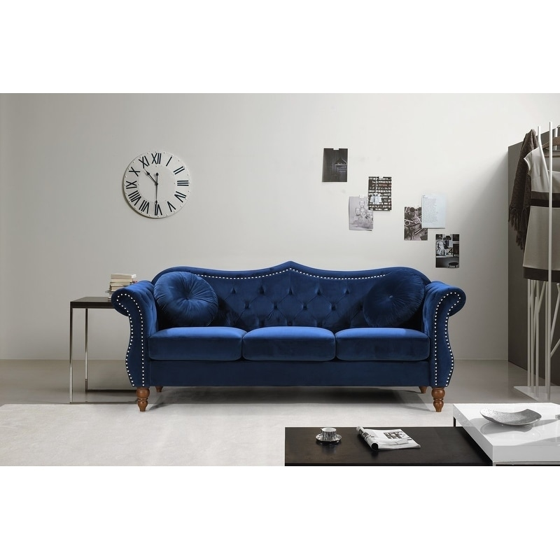 Shop US Pride Furniture Anna Upholstered Nailhead Chesterfield Sofa   On  Sale   Free Shipping Today   Overstock.com   20693910