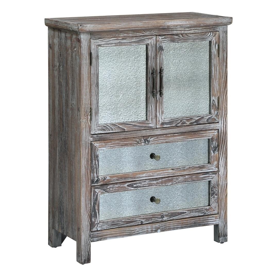 Shop Jackson Rustic Wood and Antique Mirror 2-drawer 2-door Cabinet ...