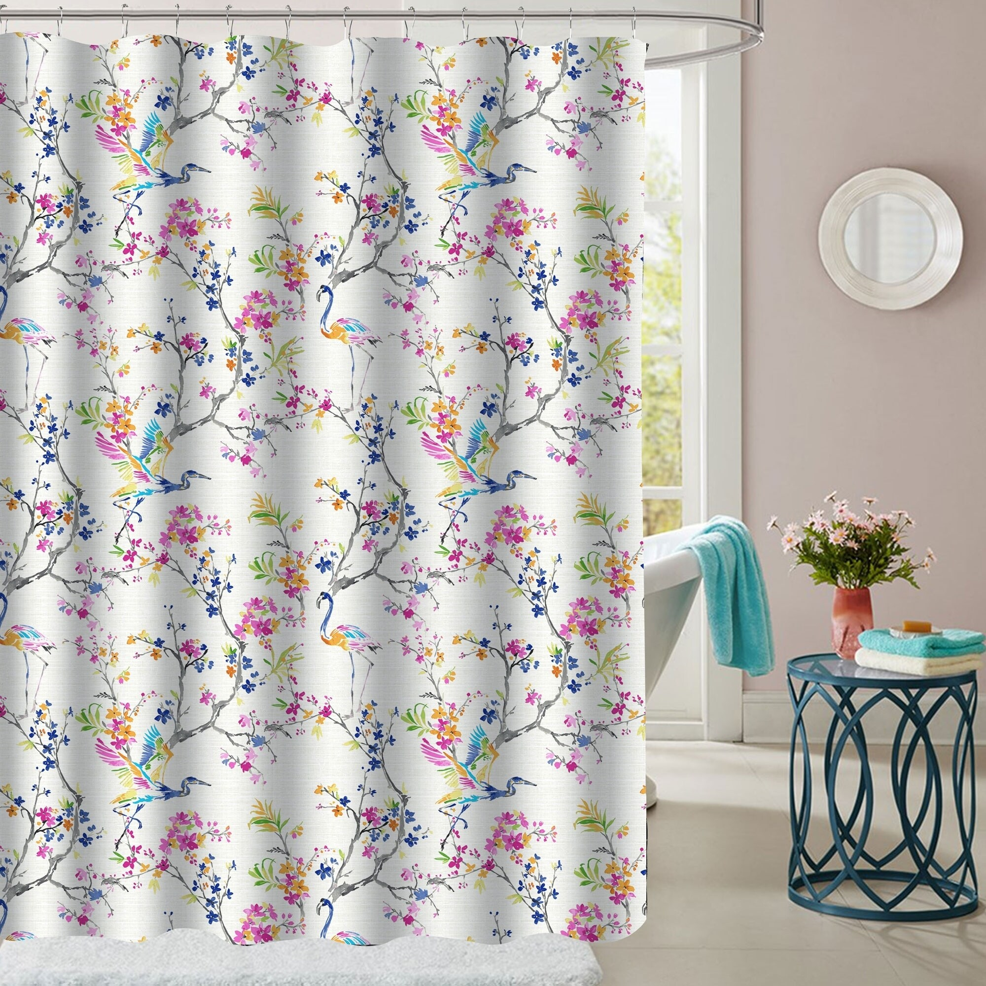 Shop Botanical Patterned Fabric Shower Curtain 70x72