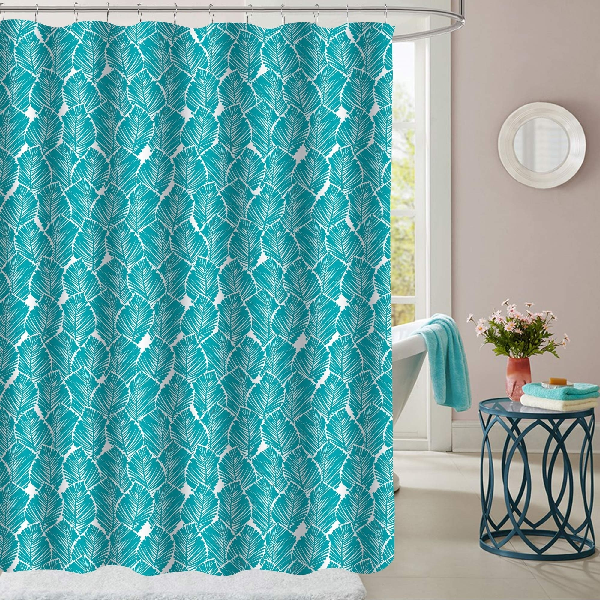 Shop Tropical Leaf Patterned Fabric Shower Curtain (70\