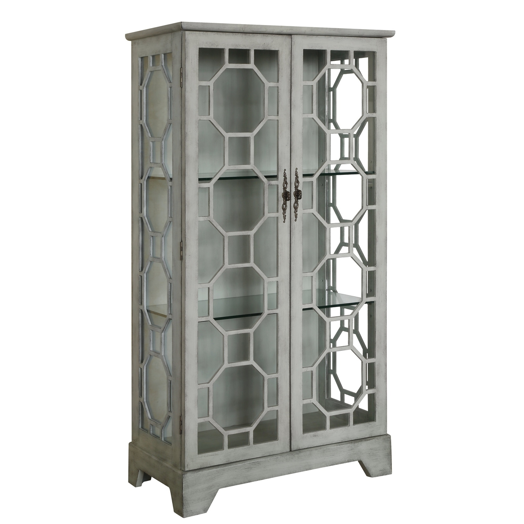 Exceptionnel Shop Evelyn Painted Grey Glass 2 Door Fretwork Curio Cabinet   Free  Shipping Today   Overstock.com   20699289