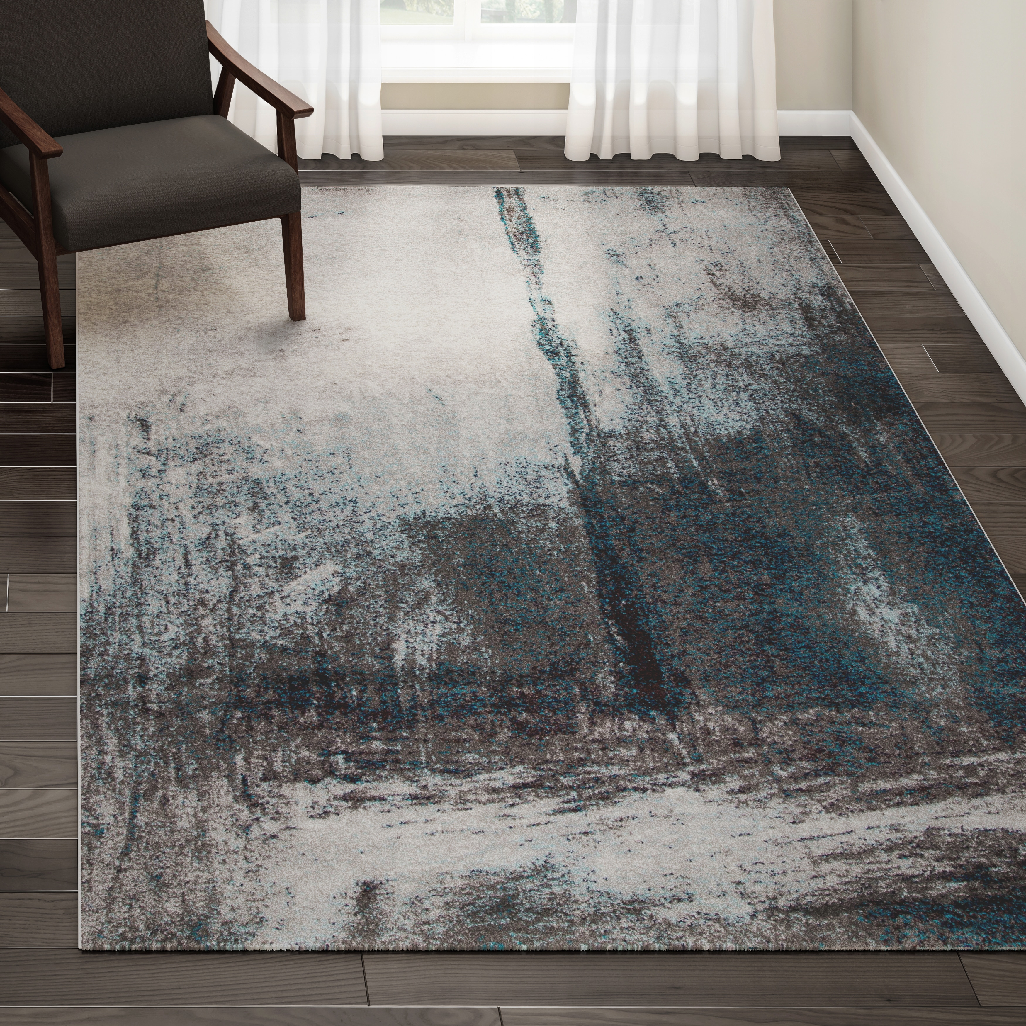 Strick bolton knight grey abstract painting area rug