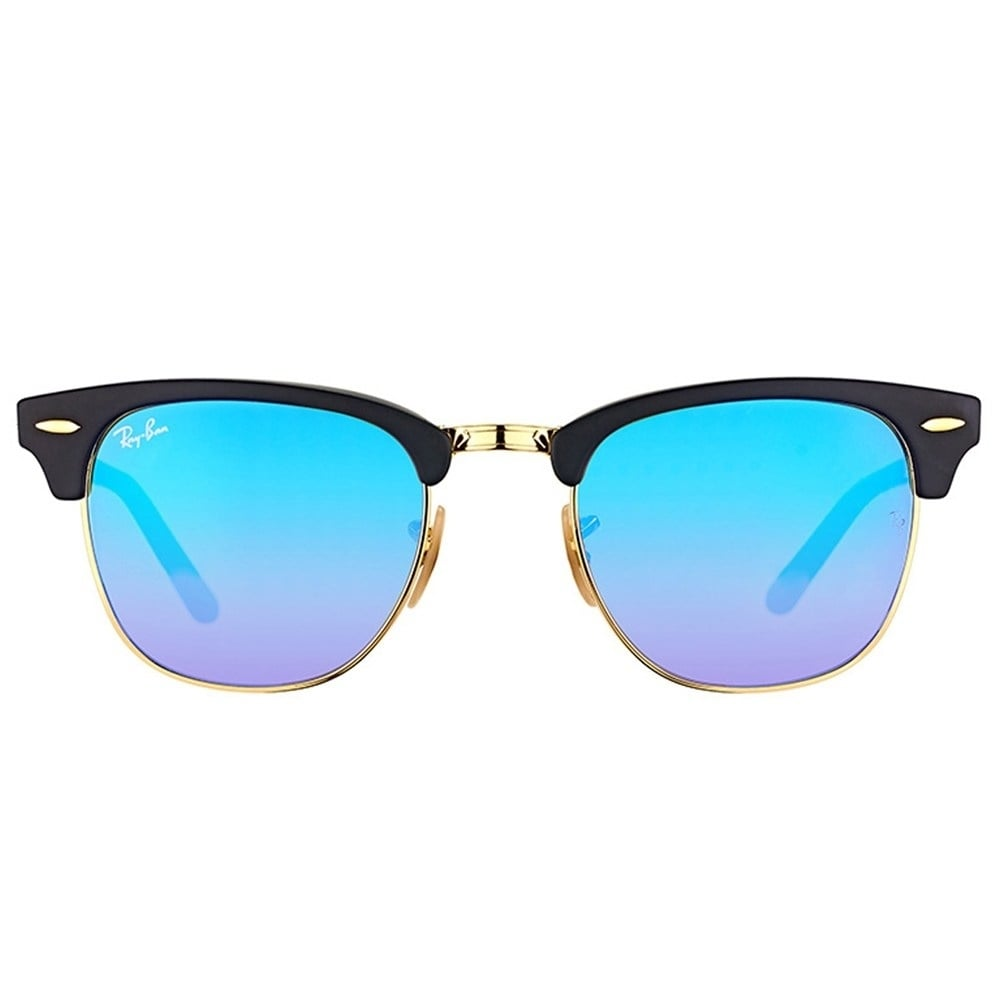 6722ca19e5 Shop Ray-Ban RB2176 Clubmaster Folding Black Frame Blue Gradient Flash 51mm  Lens Sunglasses - Ships To Canada - Overstock - 20707670