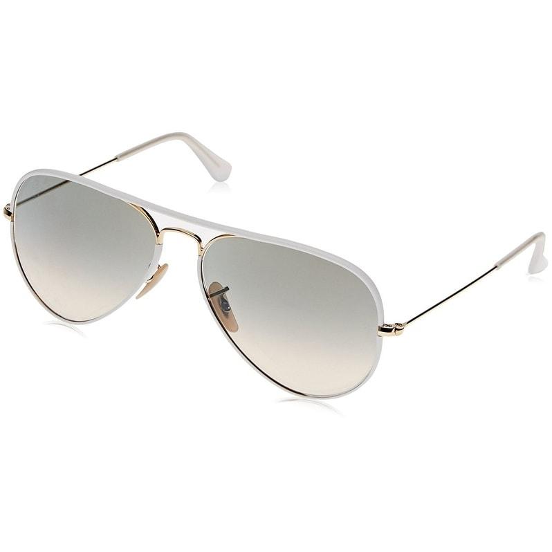 17aaf247c8b Ray-Ban RB3025JM Aviator Full Color White Gold Frame Light Grey Gradient  55mm Lens Sunglasses
