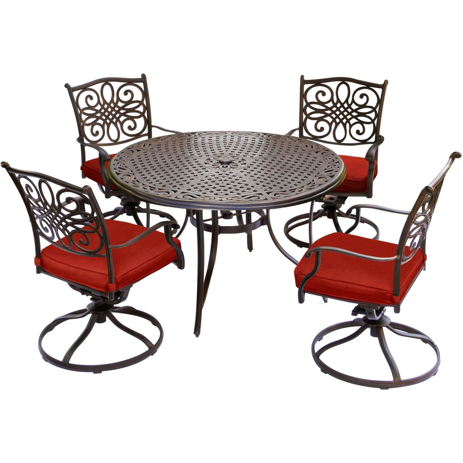 Shop Hanover Traditions 5 Piece Dining Set With Four Swivel Rockers In Red  And A 48 In. Cast Top Table   Free Shipping Today   Overstock   20707765