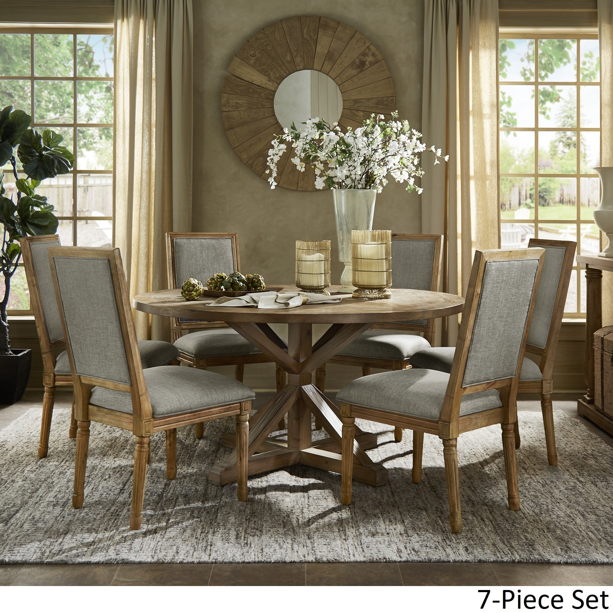 Shop deana round dining set with rectangular back chairs by inspire q artisan on sale free shipping today overstock com 20709211