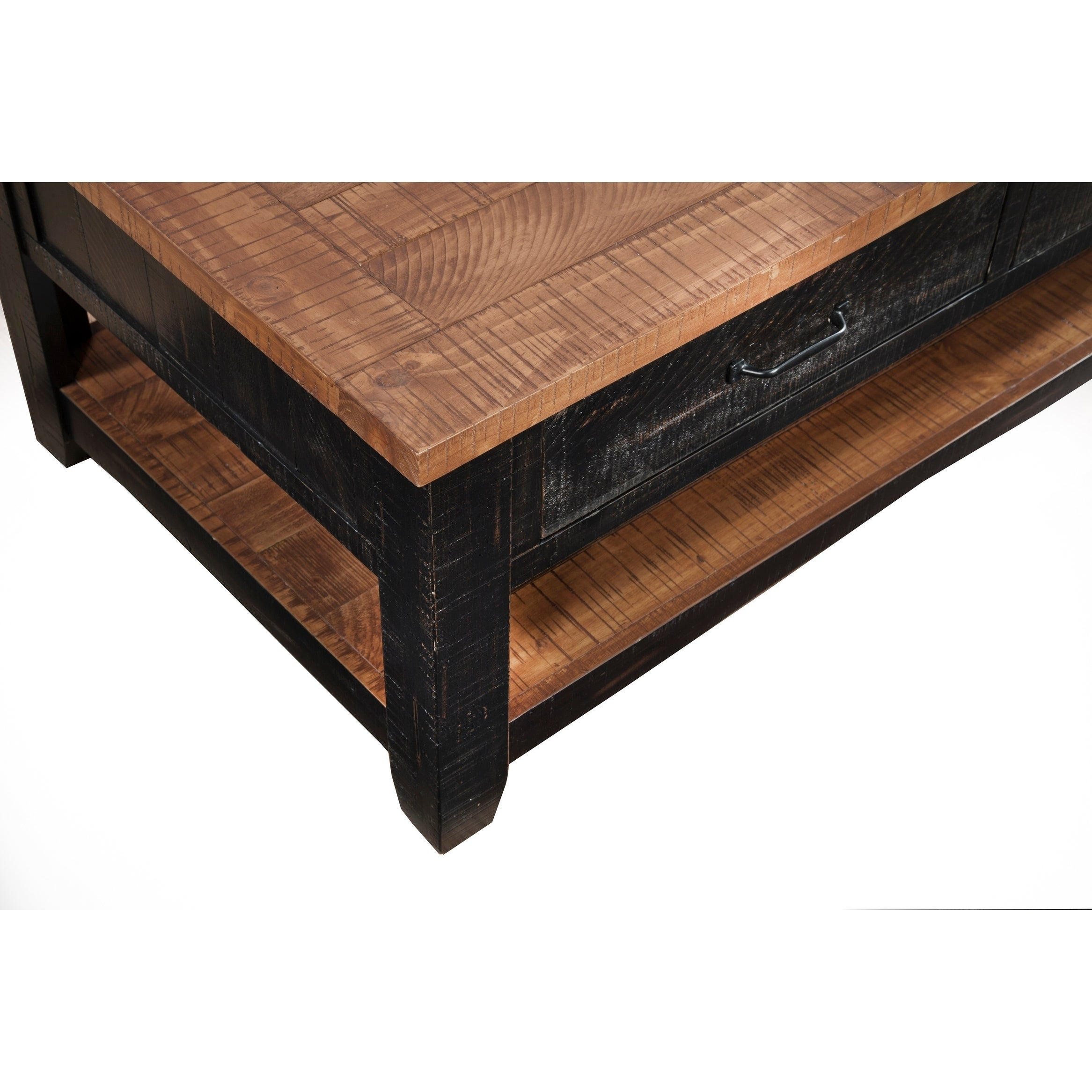 Shop Martin Svensson Home Rustic Series Drawer Solid Wood Coffee - Coffee table with drawers and shelf