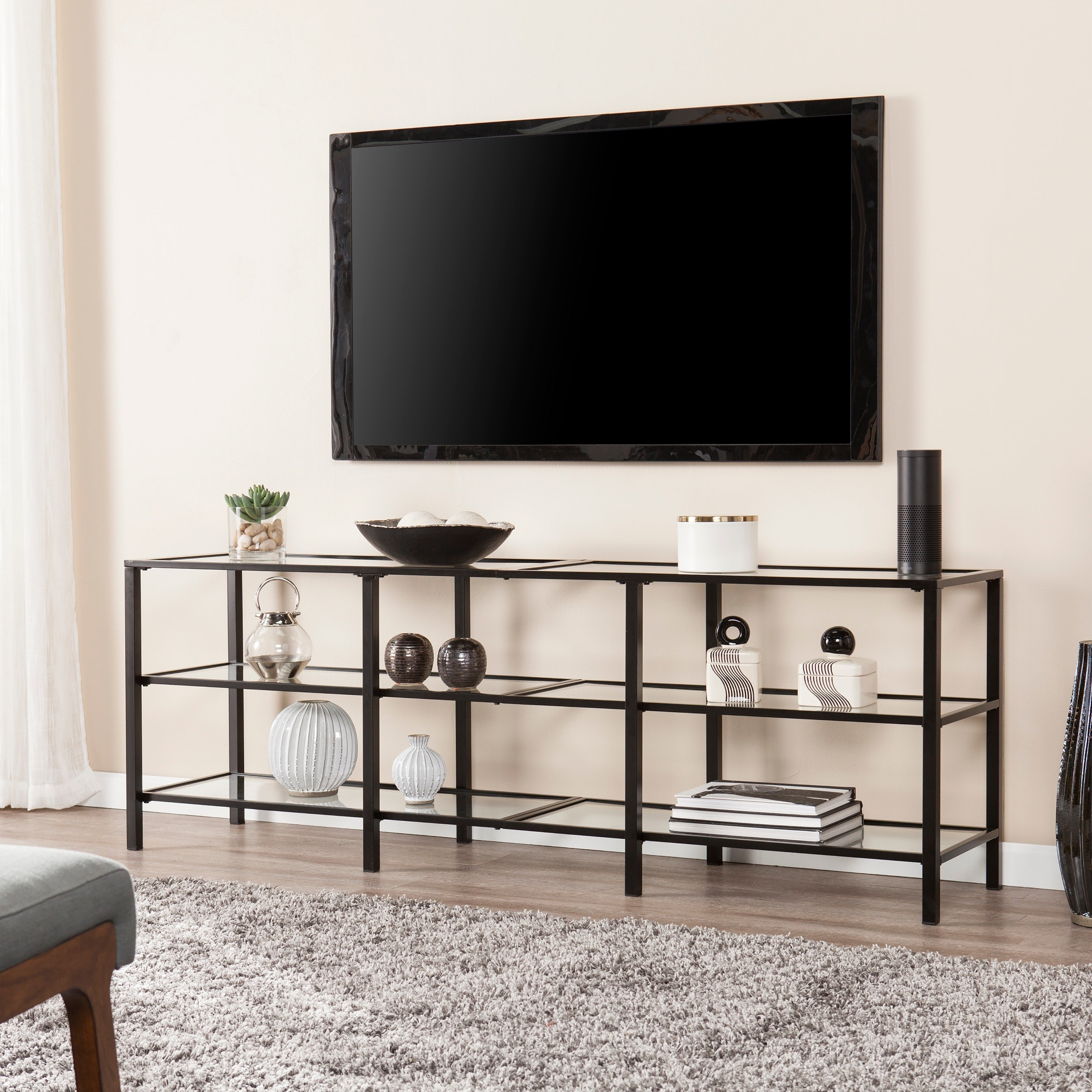 Shop Clay Alder Home Liberty Black Metal And Glass Tv Stand On