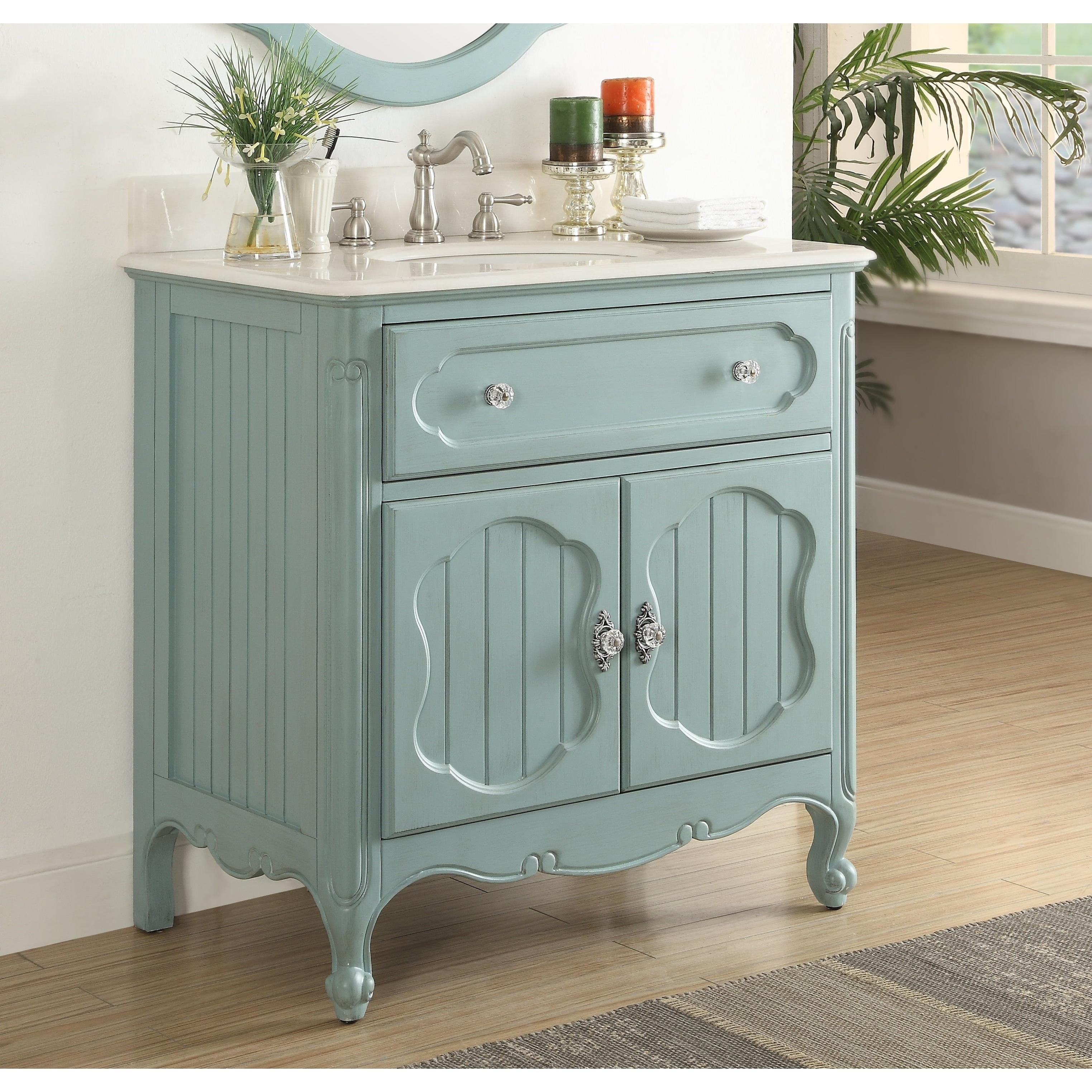 Benton Collection Knoxville Vintage Blue Bathroom Sink Vanity 34 ...
