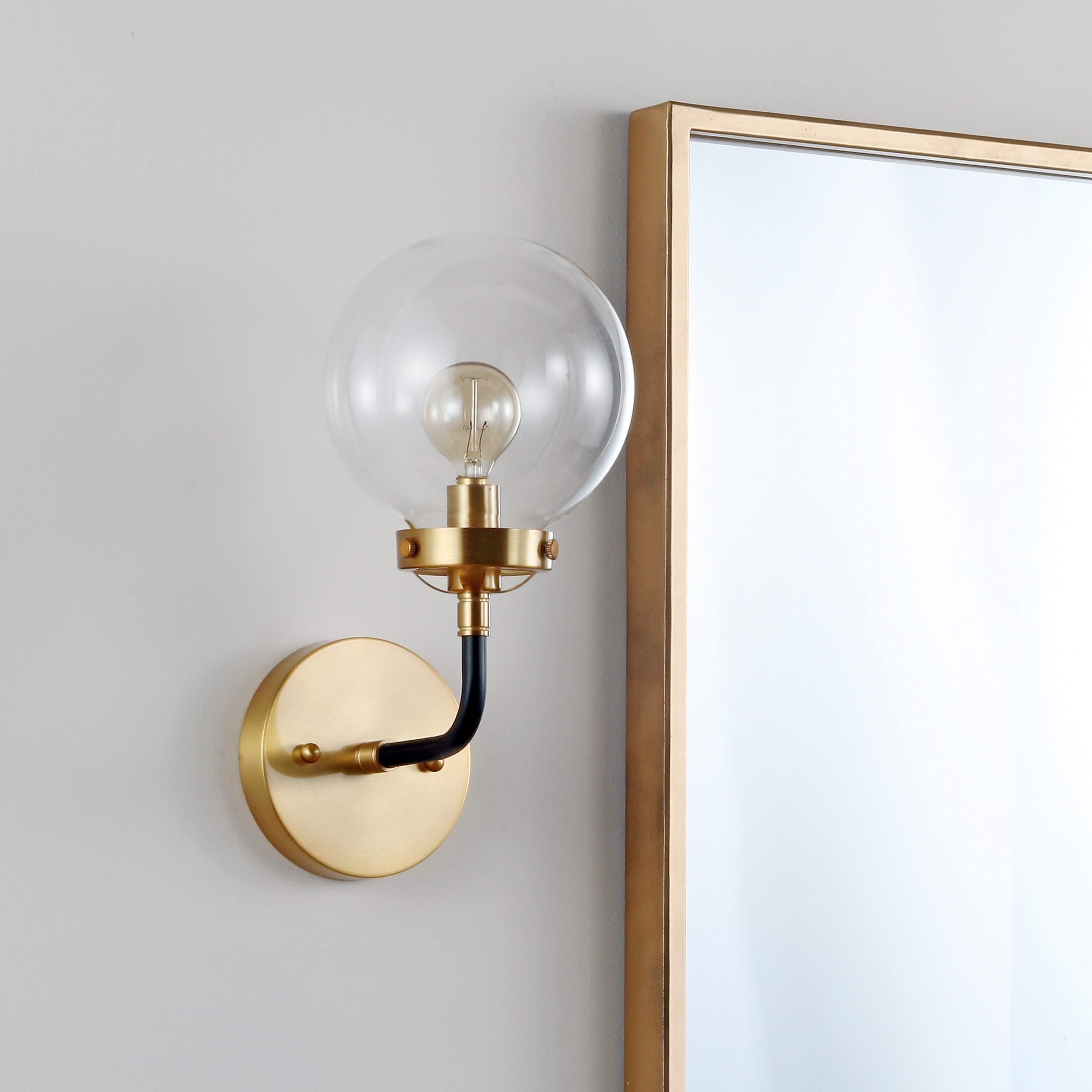 Shop caleb 1 light 8 brass wall sconce black brass by jonathan y on sale free shipping today overstock com 20711821