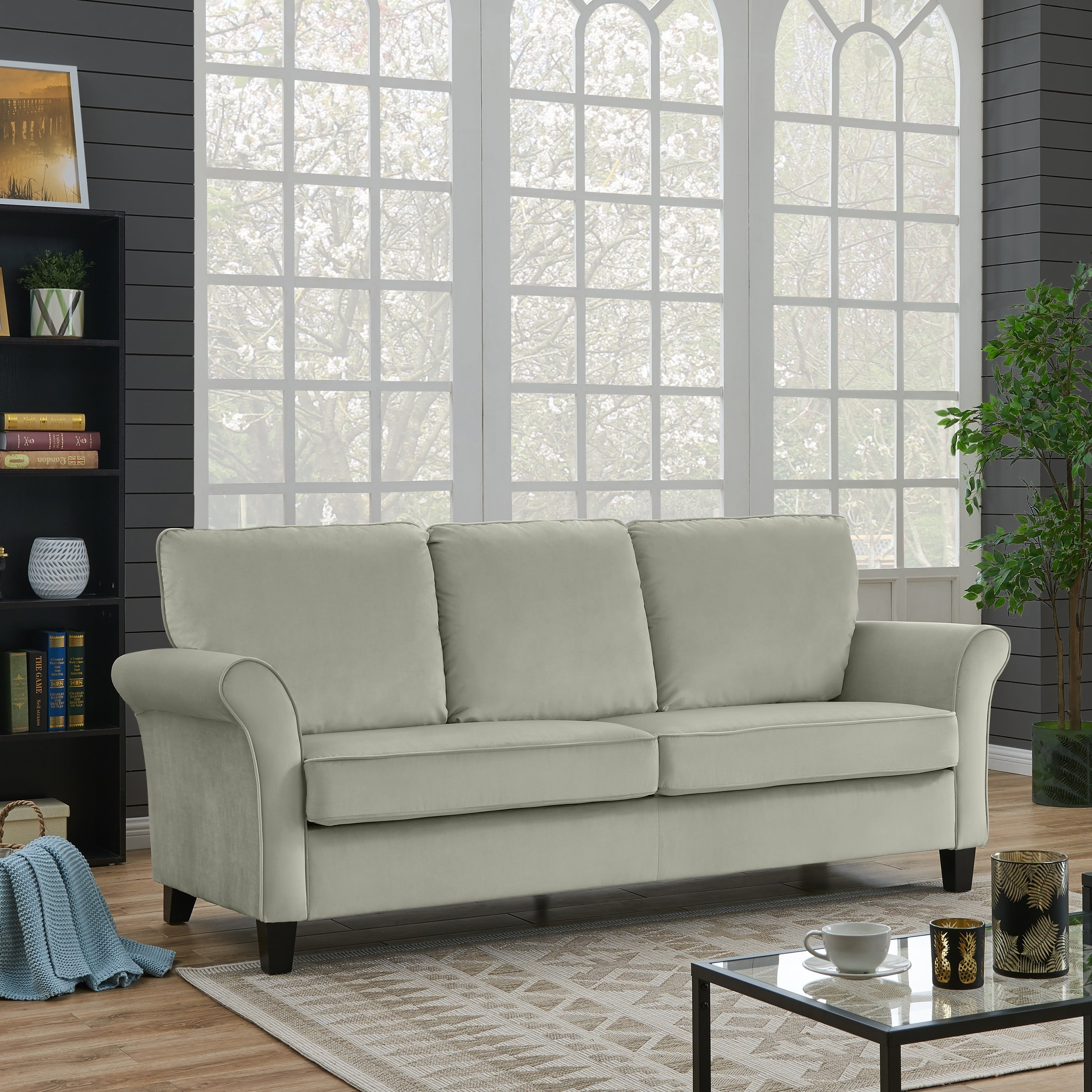 Handy Living Rockford Fawn Grey Velvet Flared Arm Sofa On Free Shipping Today 20712744