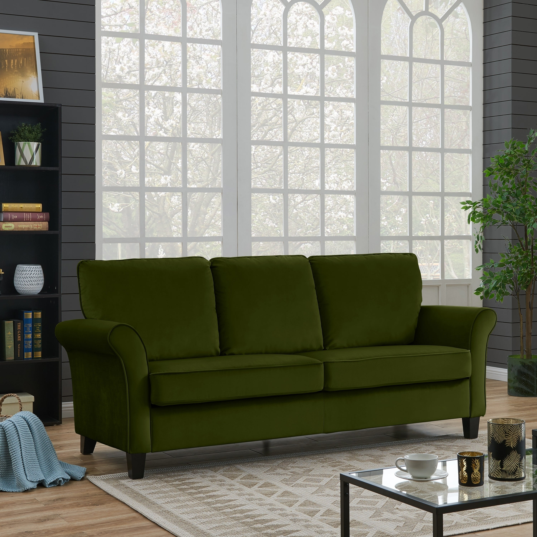 Handy Living Rockford Kale Green Velvet Flared Arm Sofa On Free Shipping Today 20712749