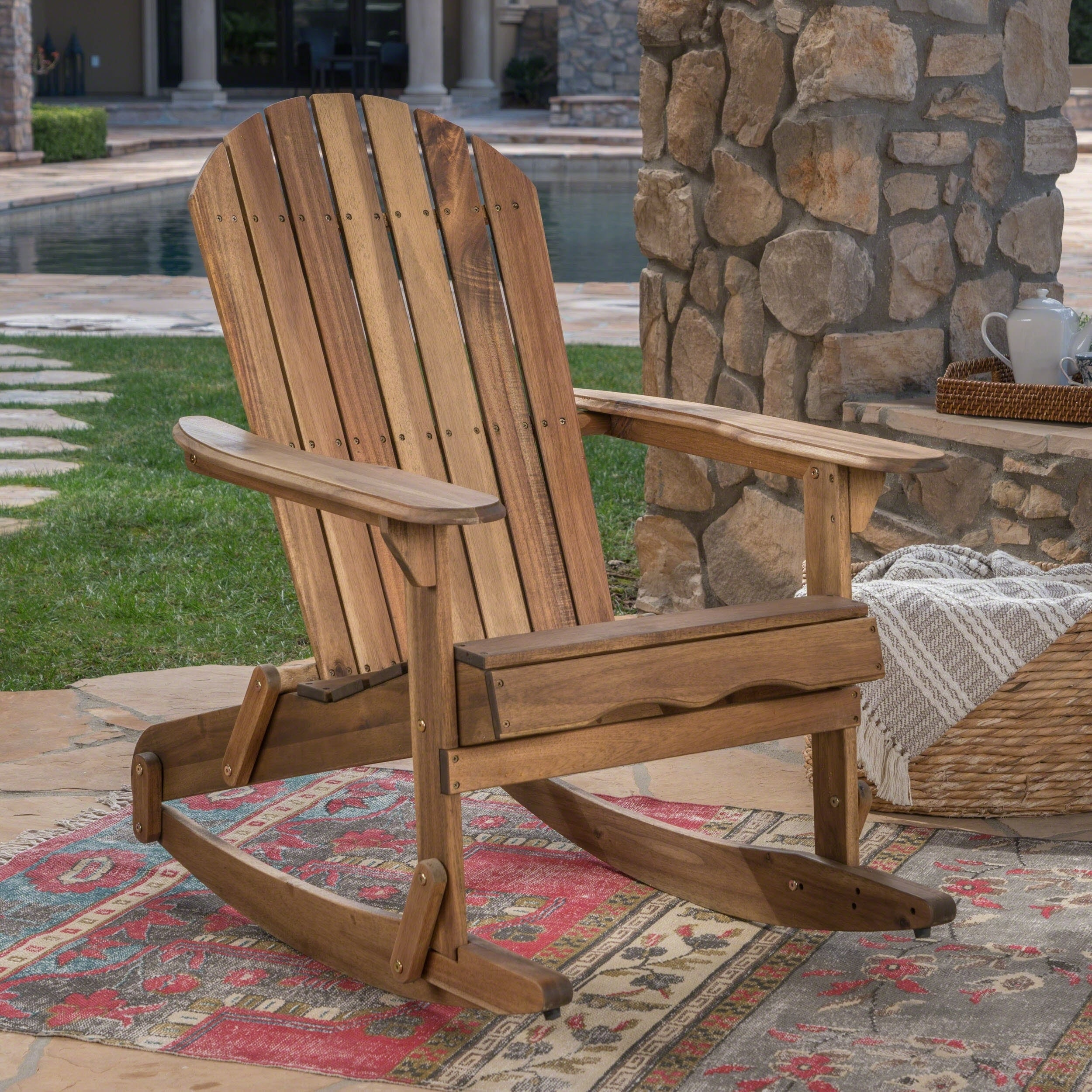 Shop Malibu Outdoor Adirondack Rocking Chair by Christopher Knight ...
